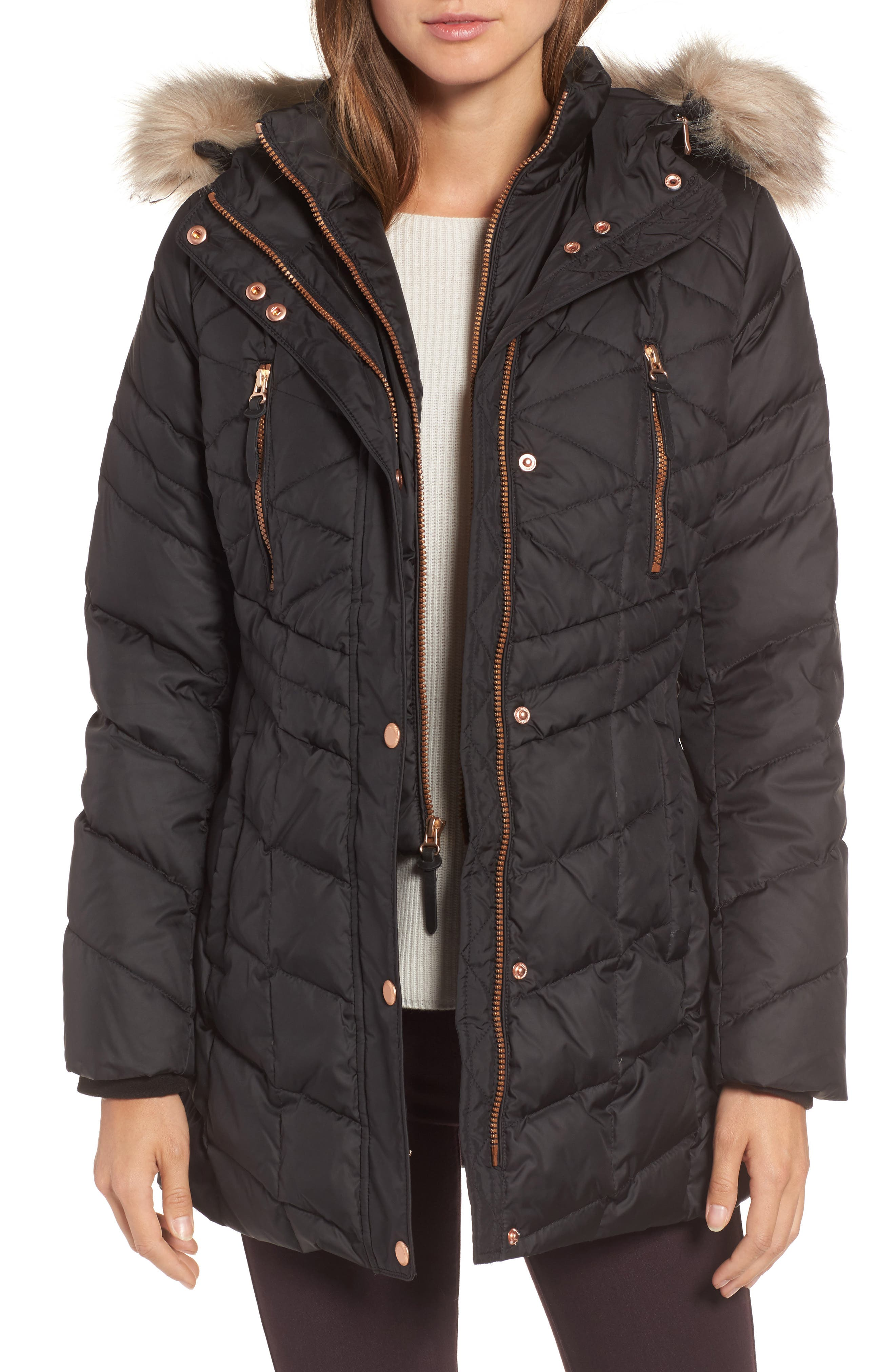 Marley 30 Coat with Detachable Faux Fur,                             Main thumbnail 1, color,                             001