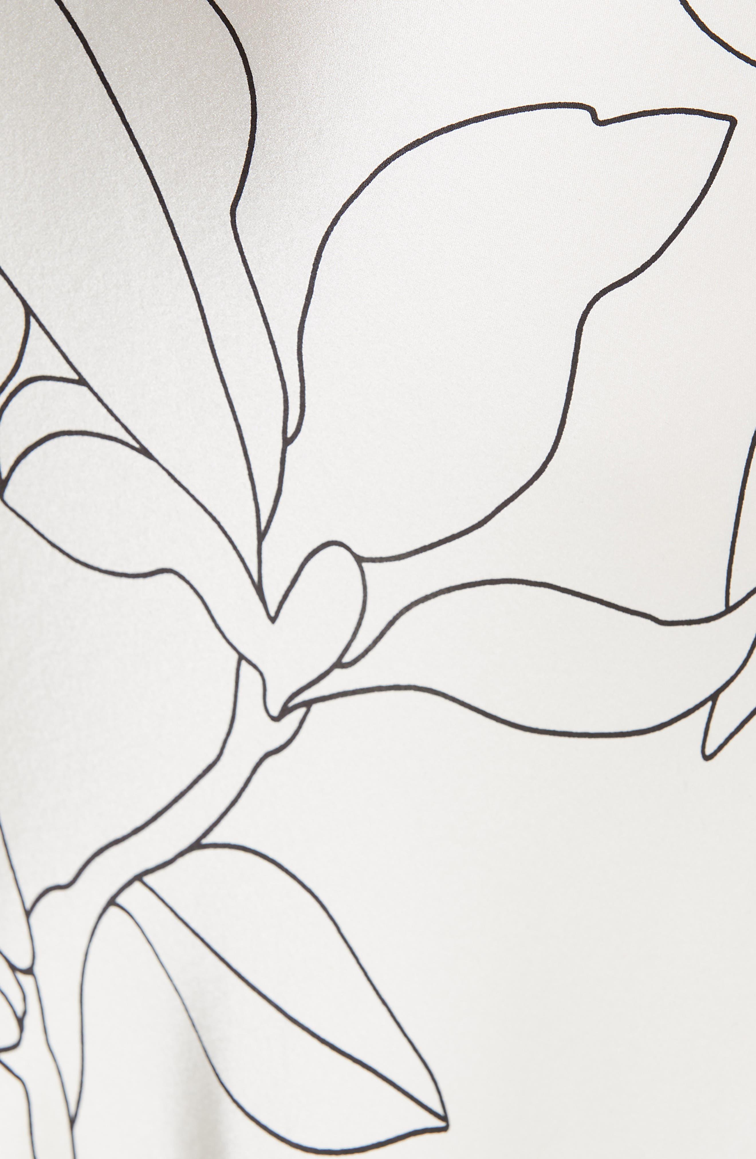 Iva Floral Silk Midi Skirt,                             Alternate thumbnail 5, color,                             NATURAL WHITE TRUE BLACK
