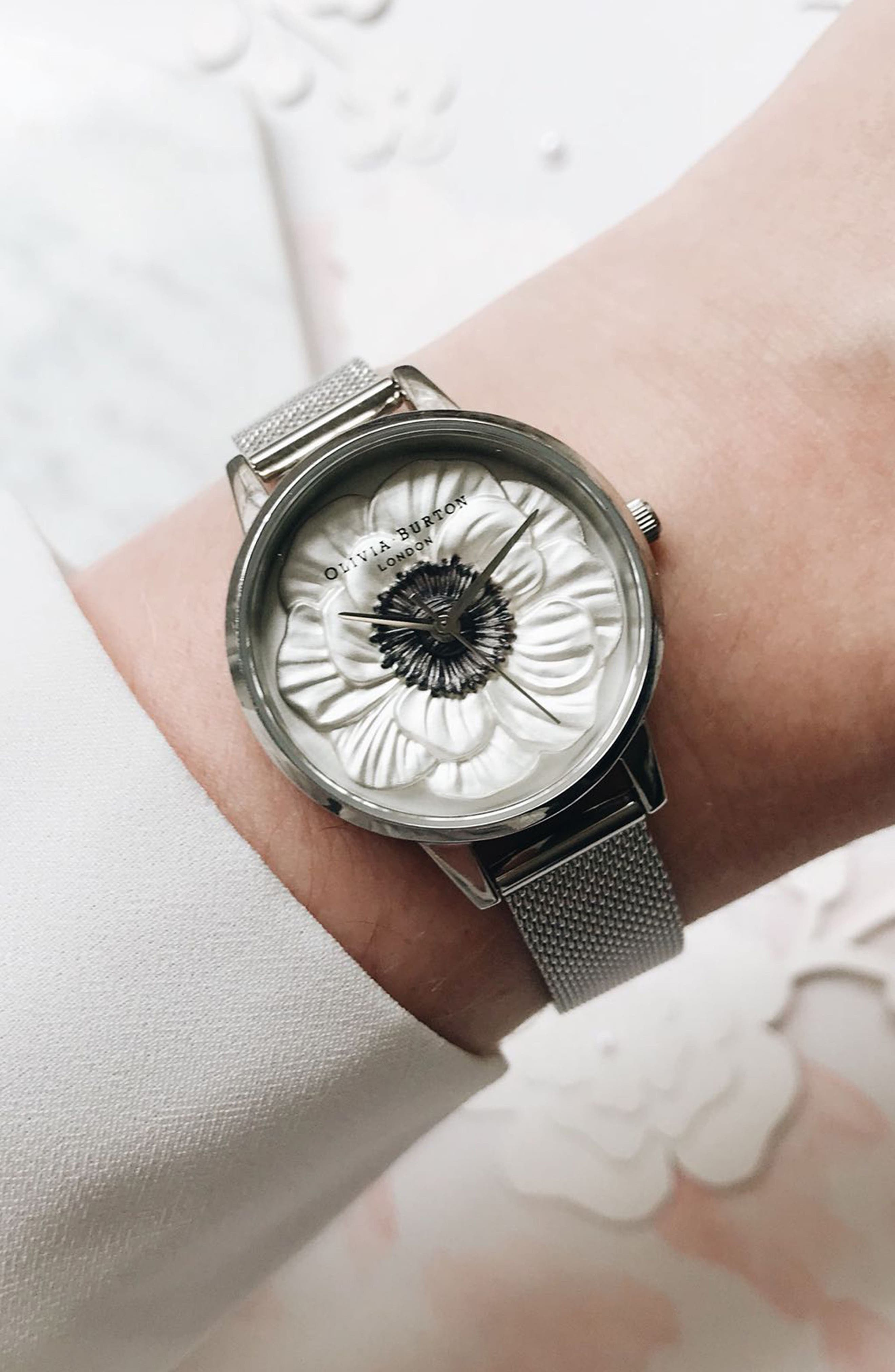 3D Anemone Mesh Strap Watch, 30mm,                             Alternate thumbnail 6, color,                             SILVER/ BLACK/ SILVER