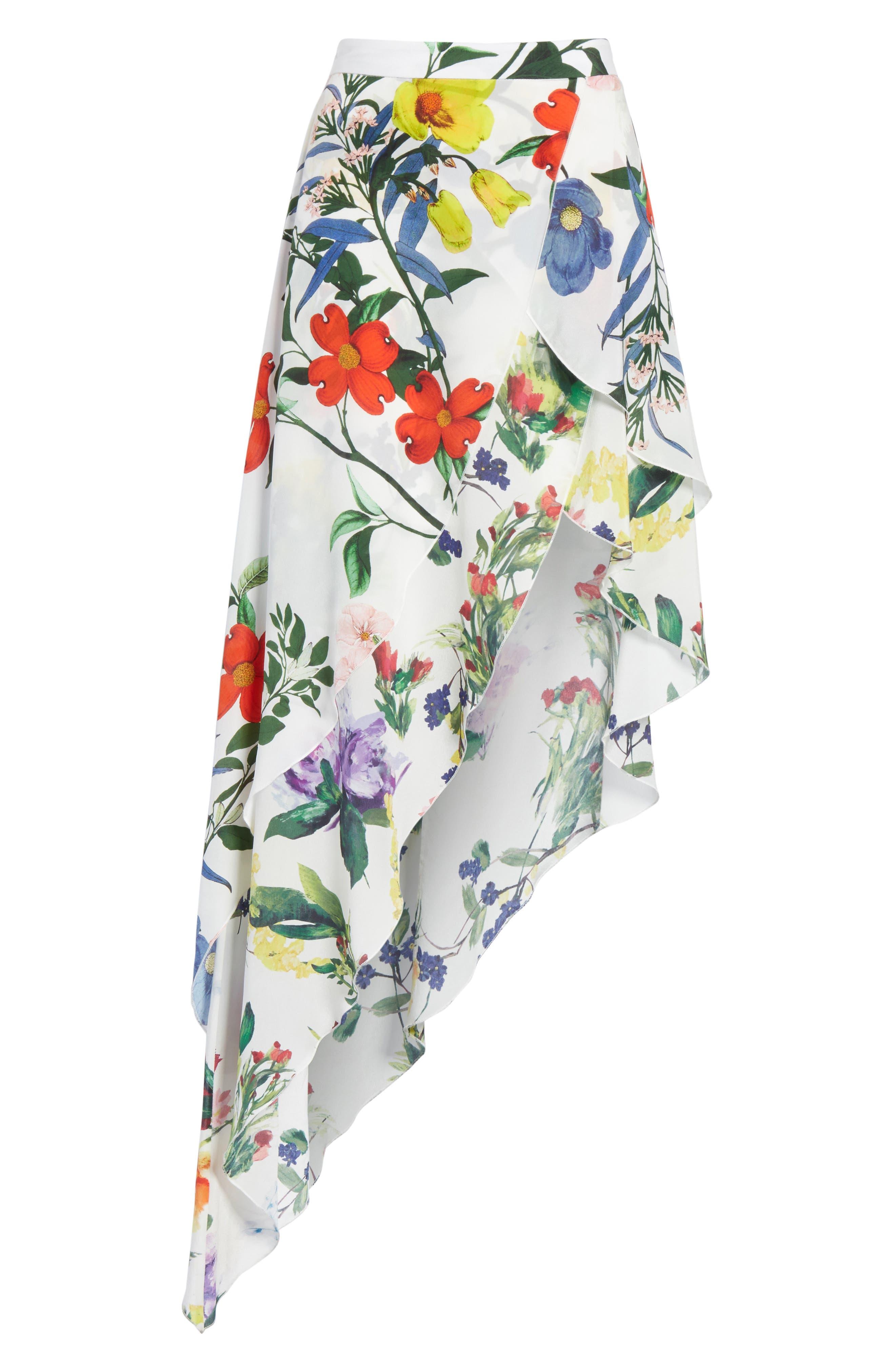 Joeann Asymmetrical Floral Silk Skirt,                             Alternate thumbnail 6, color,                             178