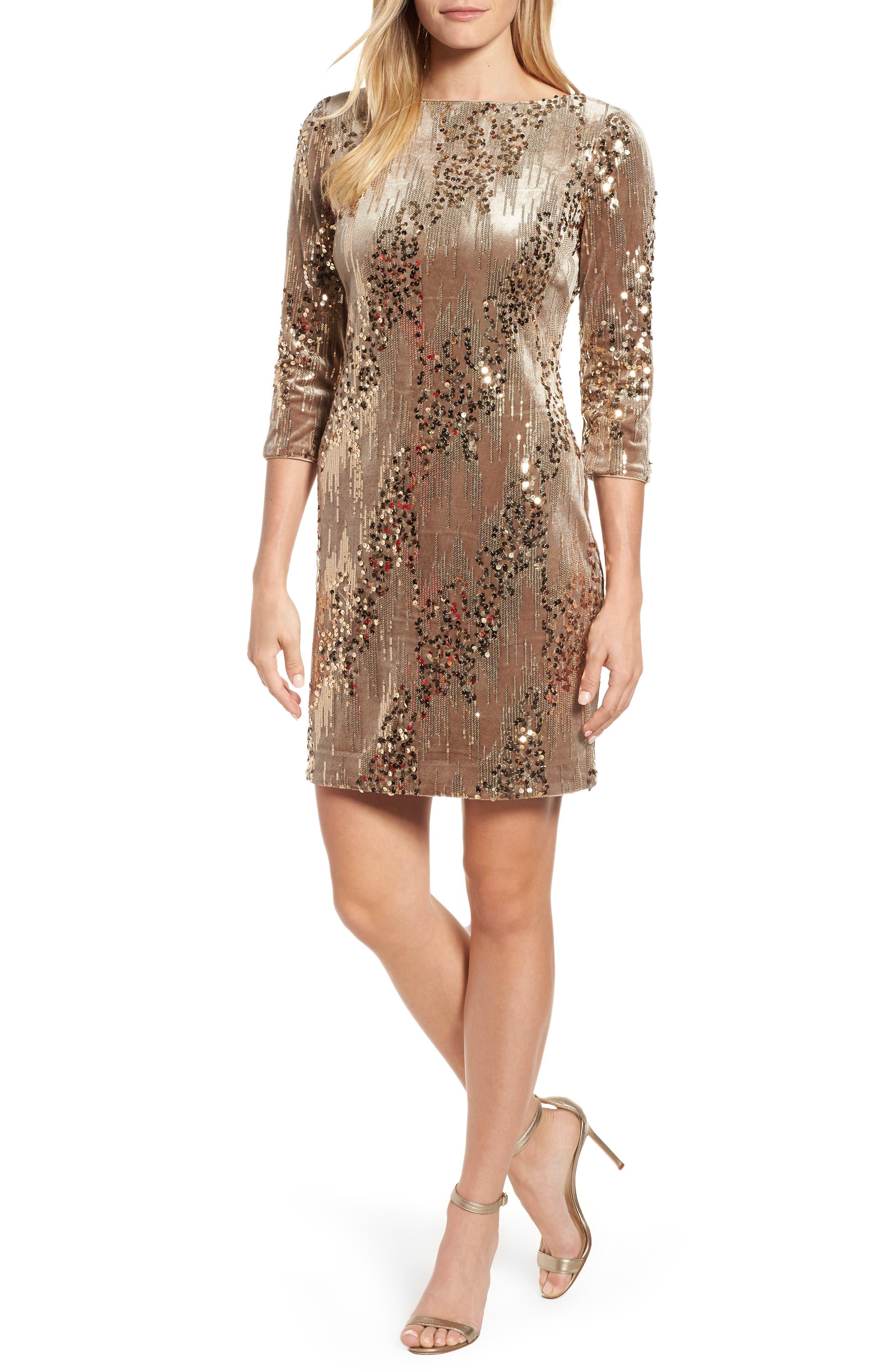 Sequin & Velvet Sheath Dress,                         Main,                         color,