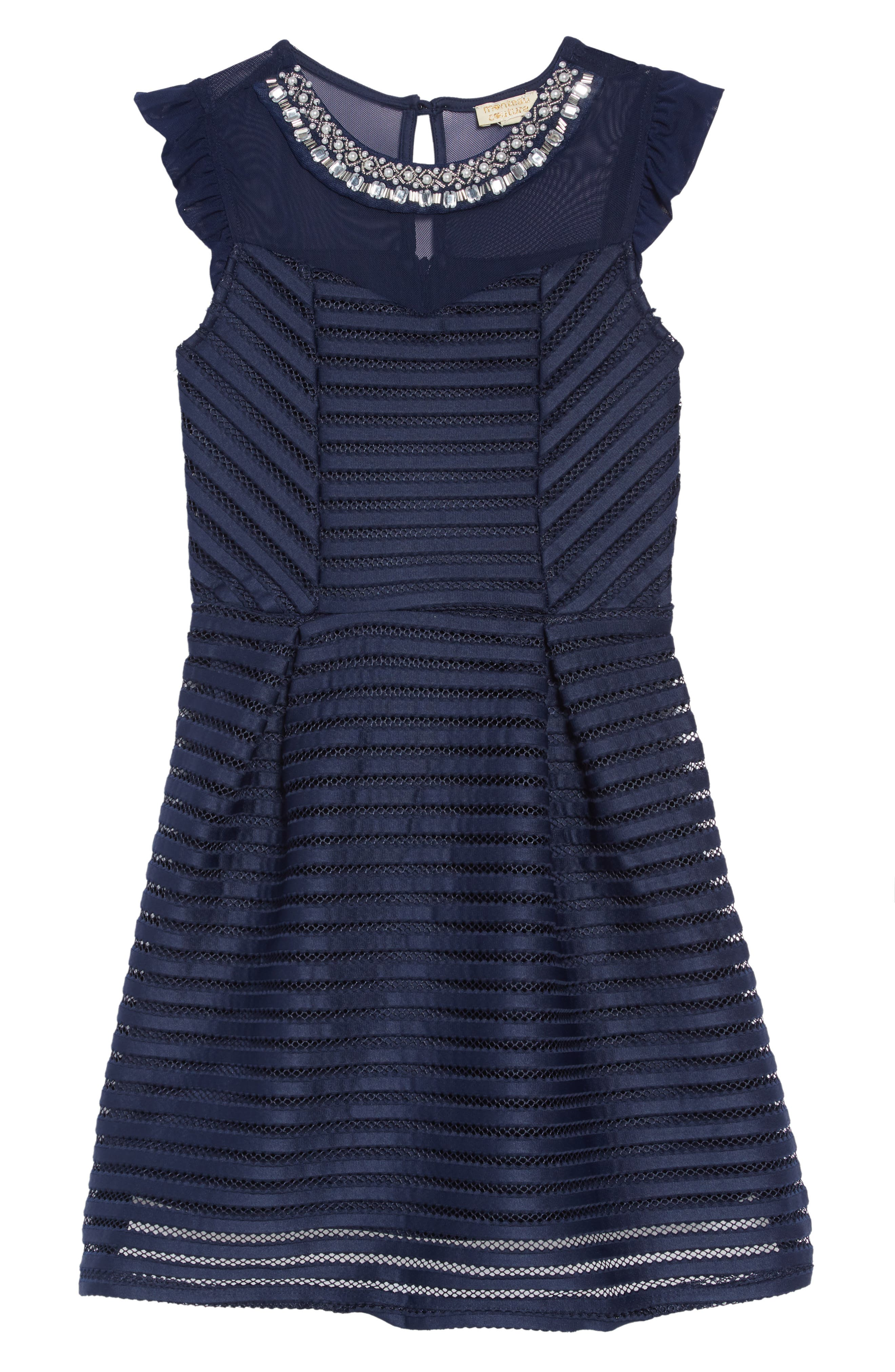 Mesh Stripe Dress,                         Main,                         color, NAVY