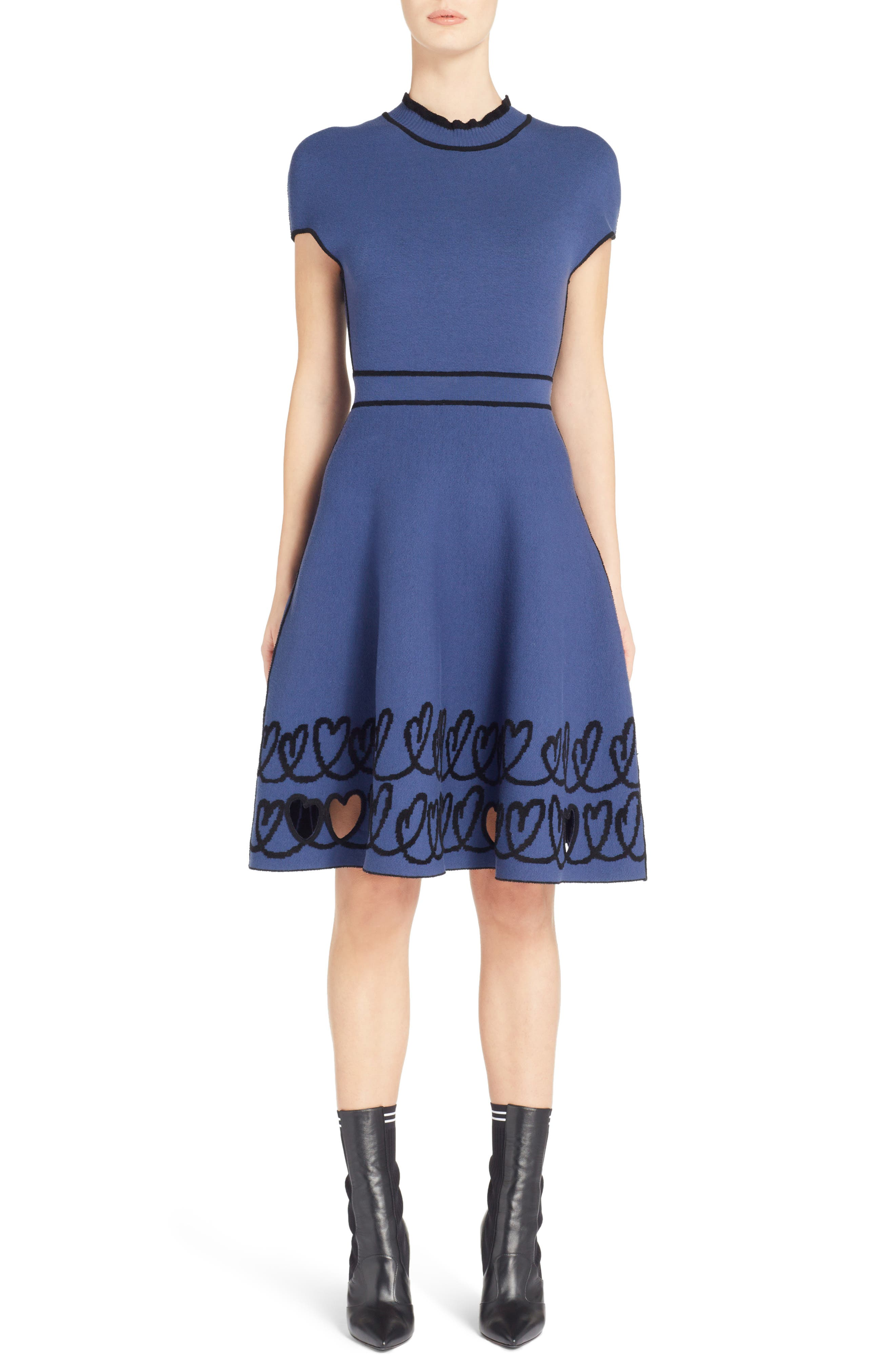 Cutout Heart Reversible Fit & Flare Dress,                         Main,                         color, BLUE