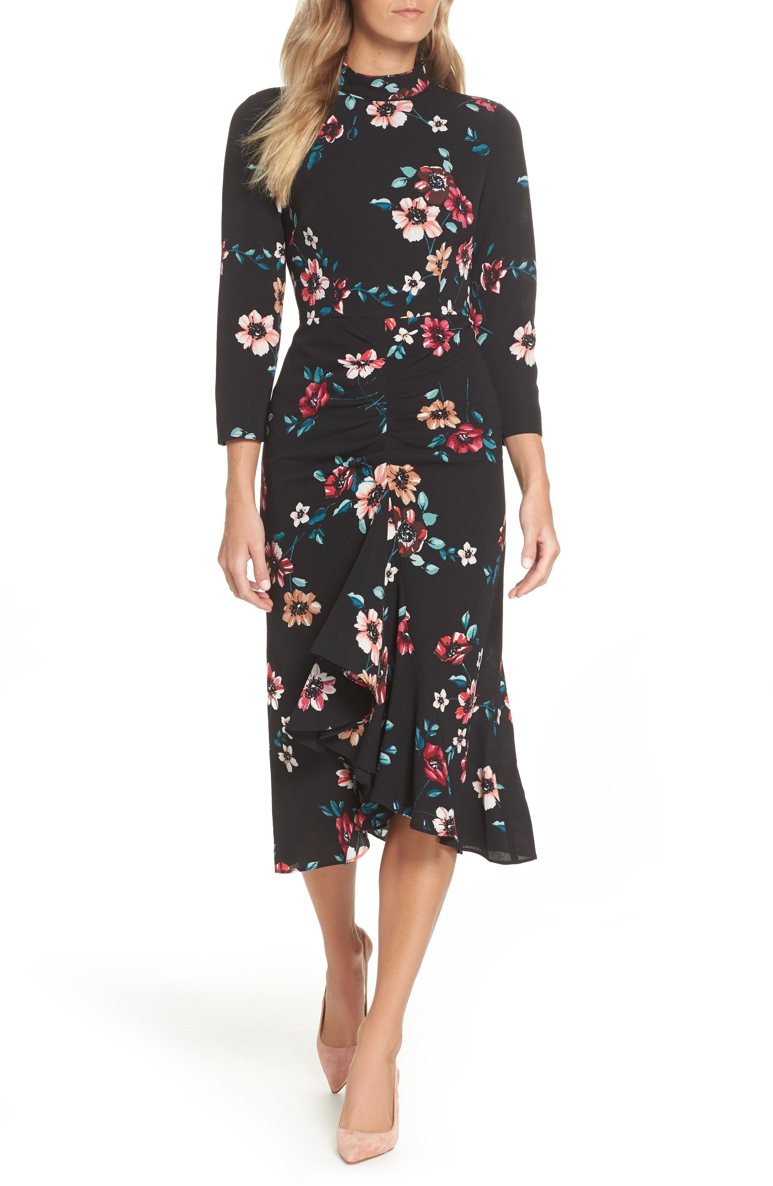 Floral Ruffle Midi Dress,                         Main,                         color, 001