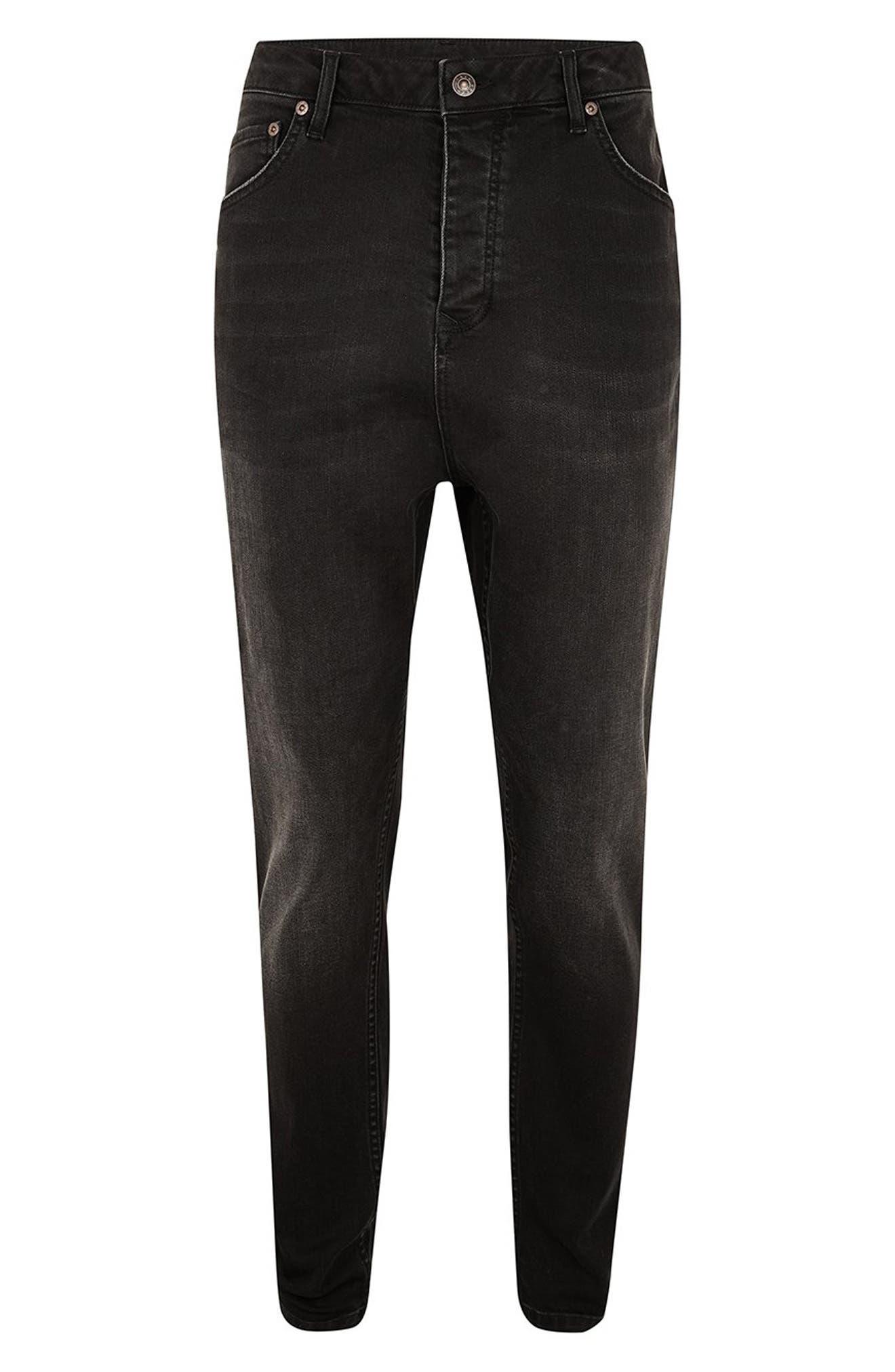 Topshop Jogger Skinny Jeans,                             Alternate thumbnail 4, color,                             BLACK