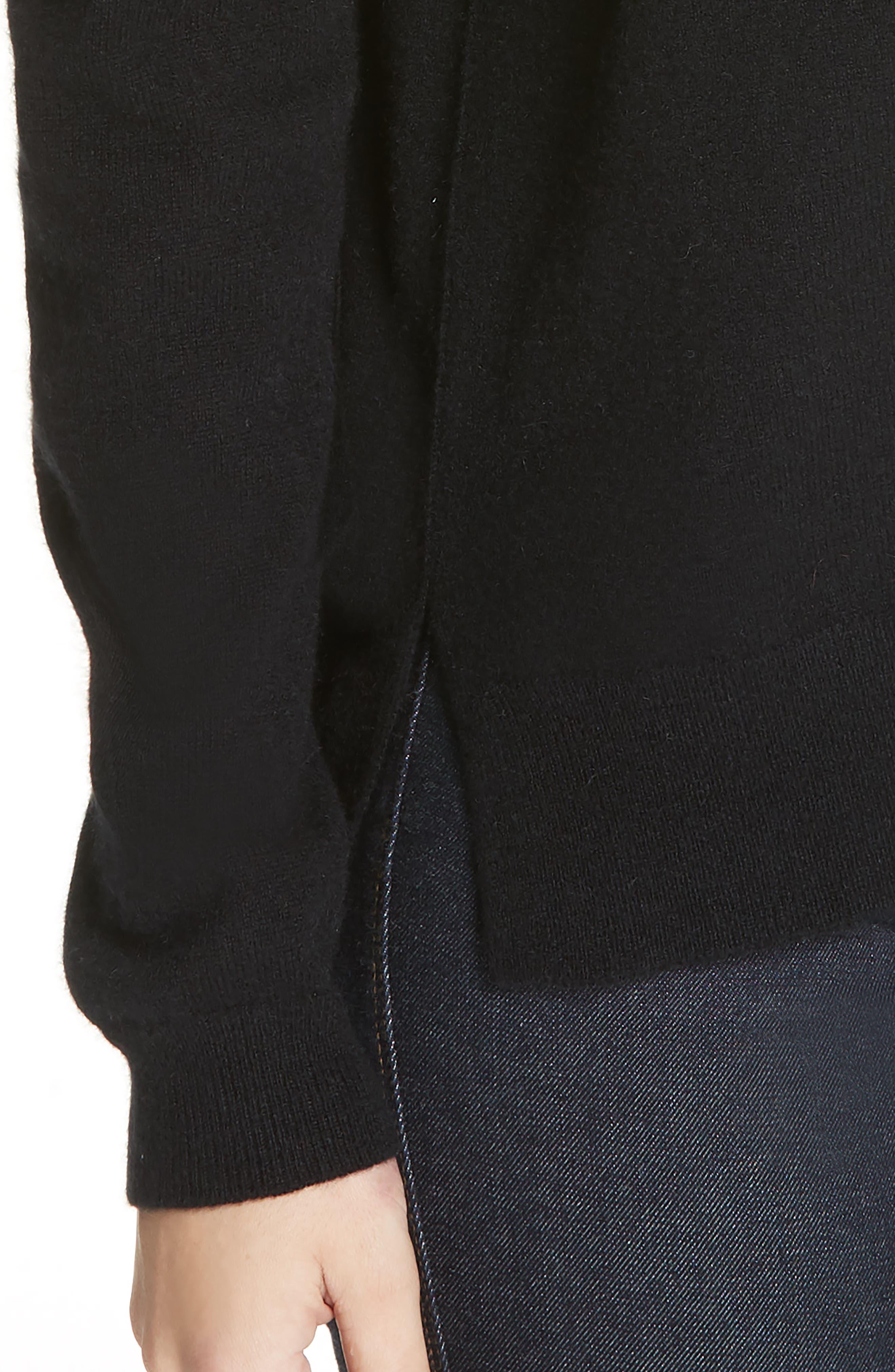 Crewneck Cashmere Sweater,                             Alternate thumbnail 4, color,                             BLACK