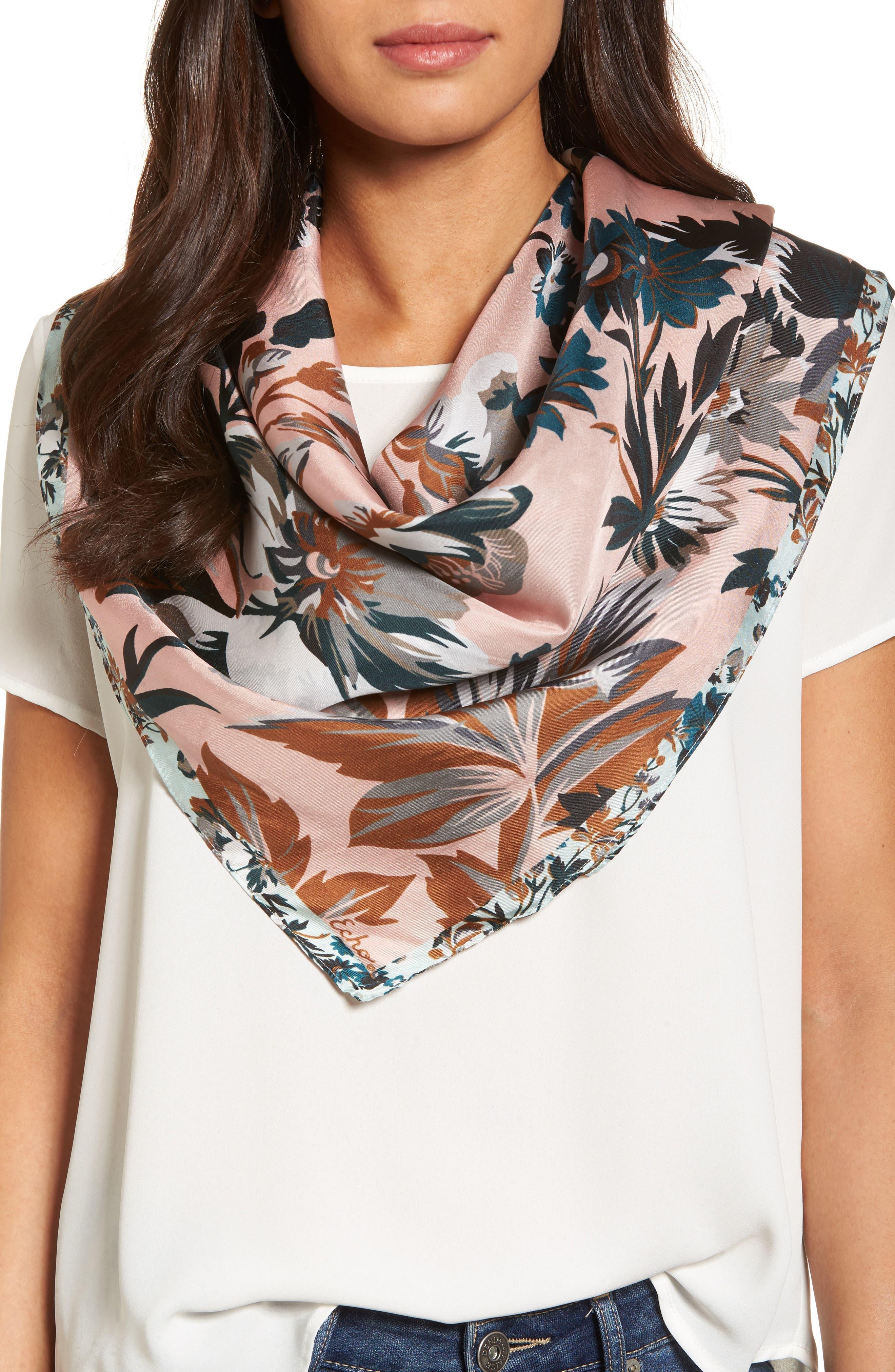 Highgate Floral Square Silk Scarf,                         Main,                         color, 110