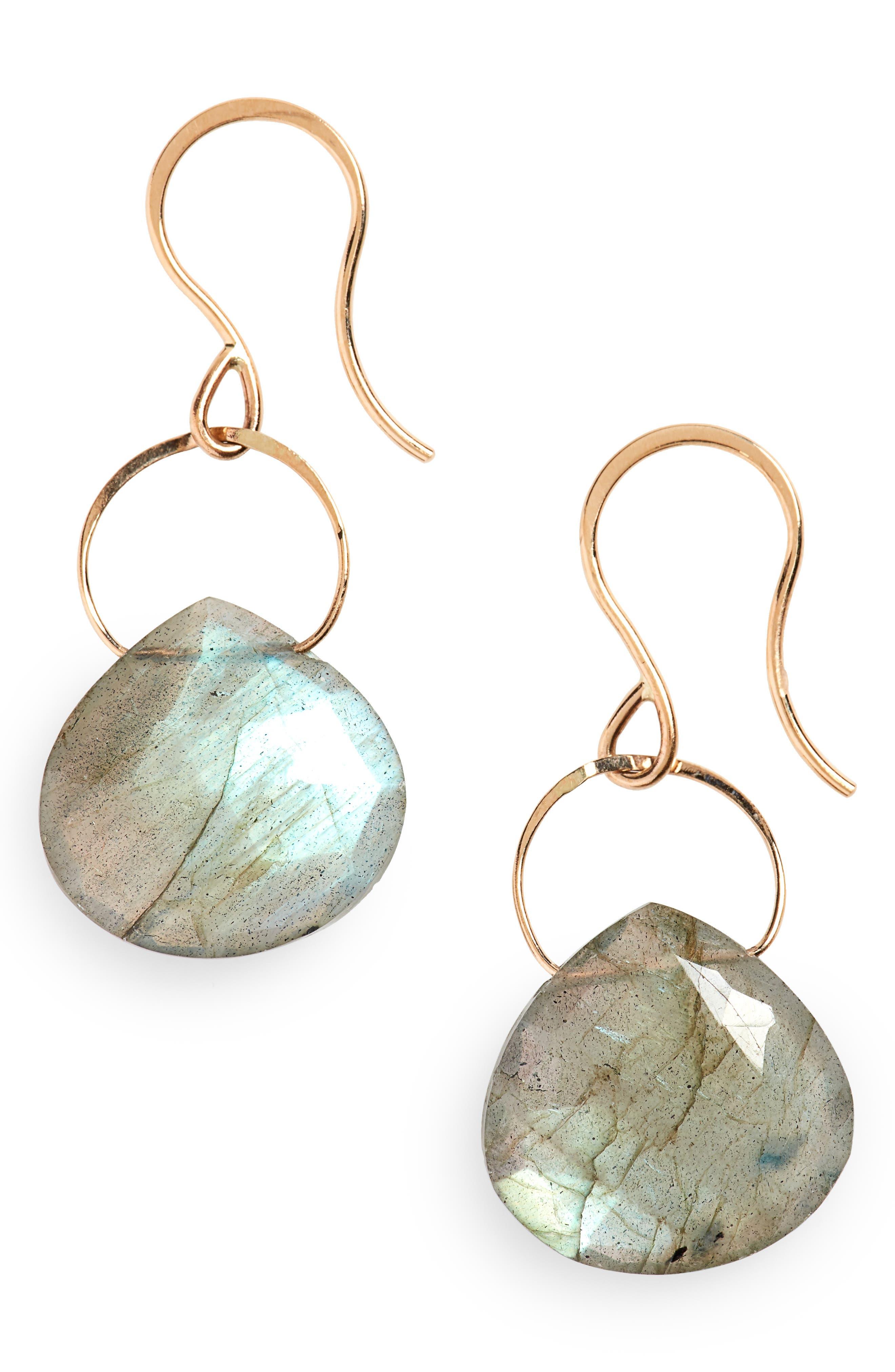 Semiprecious Stone Drop Earrings,                             Alternate thumbnail 2, color,                             LABRADORITE/ YELLOW GOLD