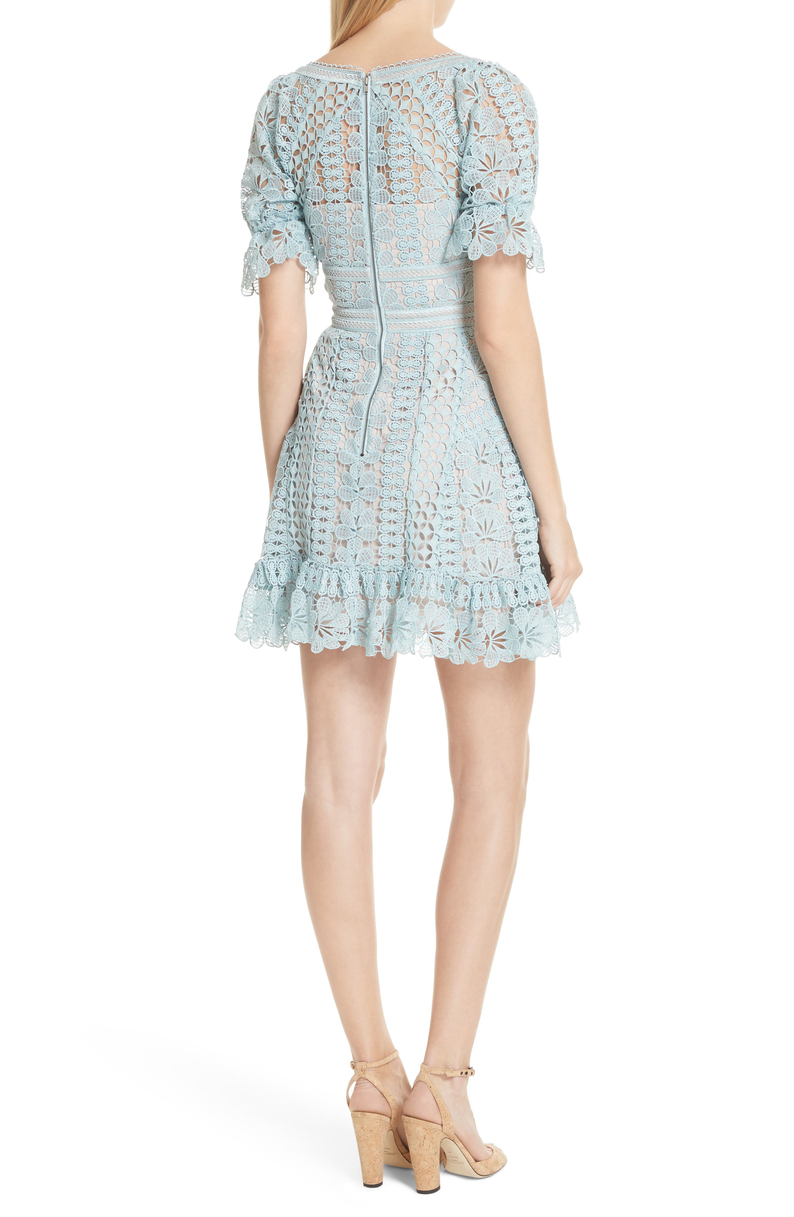 Puff Sleeve Guipure Lace Dress,                             Alternate thumbnail 2, color,