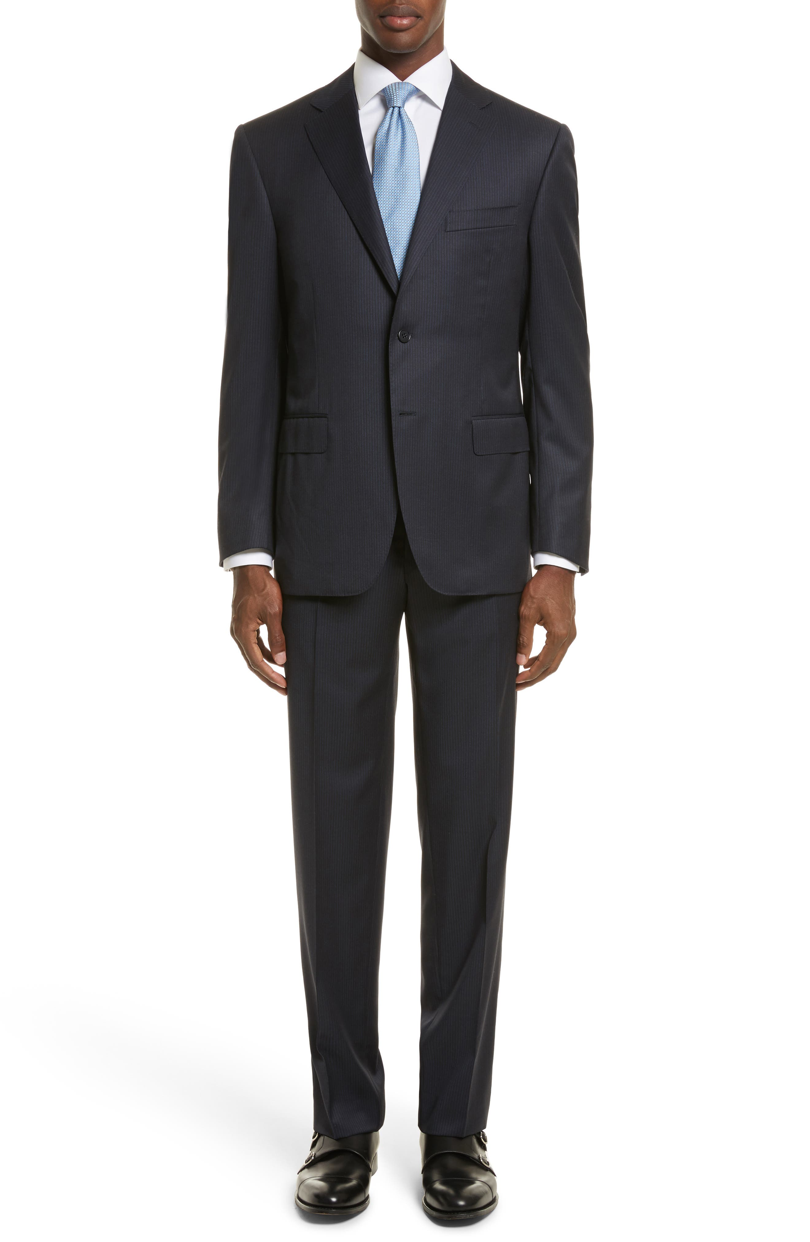 Classic Fit Stripe Wool Suit,                         Main,                         color, 400