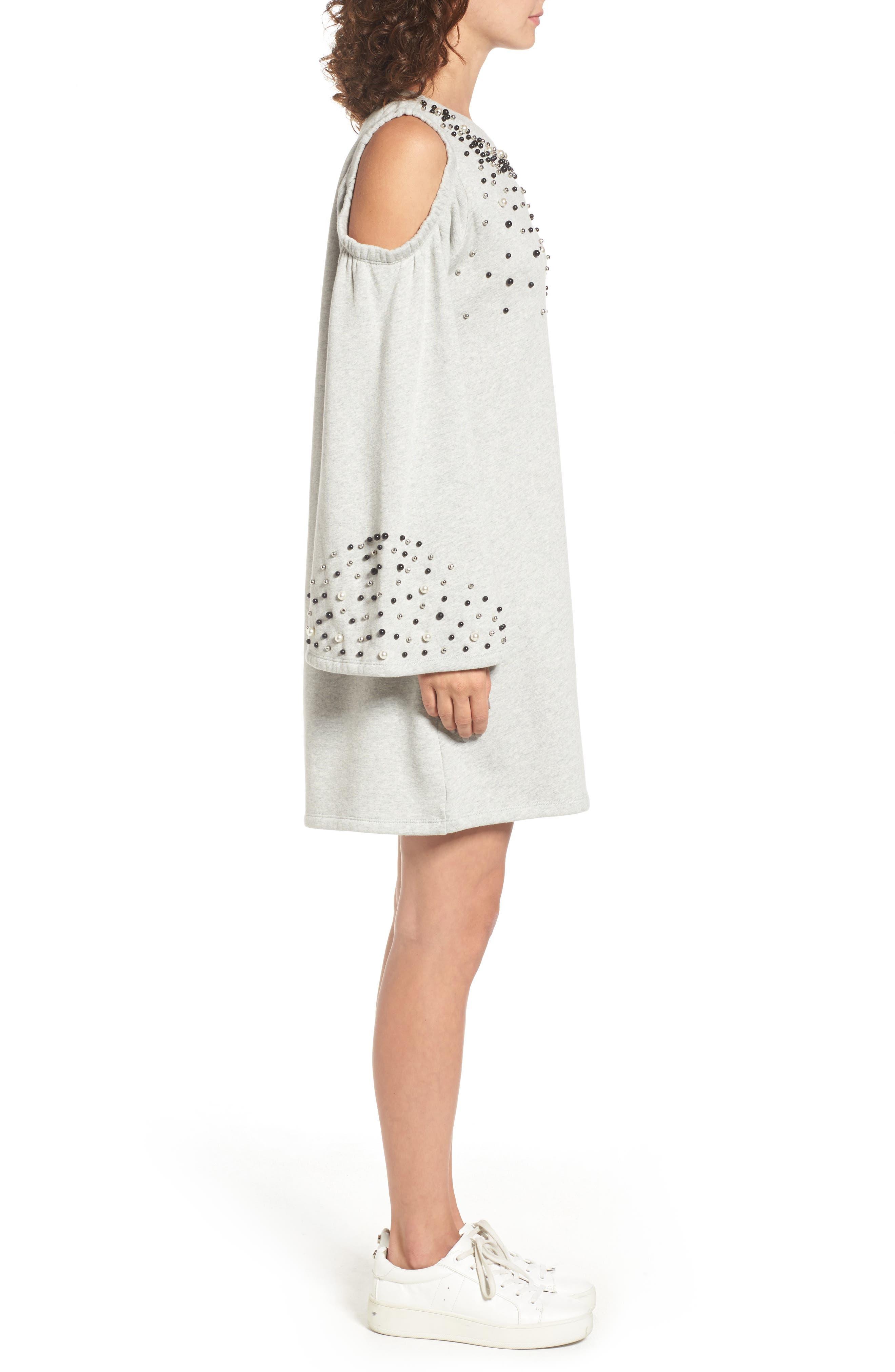 Embellished Cold Shoulder Sweatshirt Dress,                             Alternate thumbnail 6, color,
