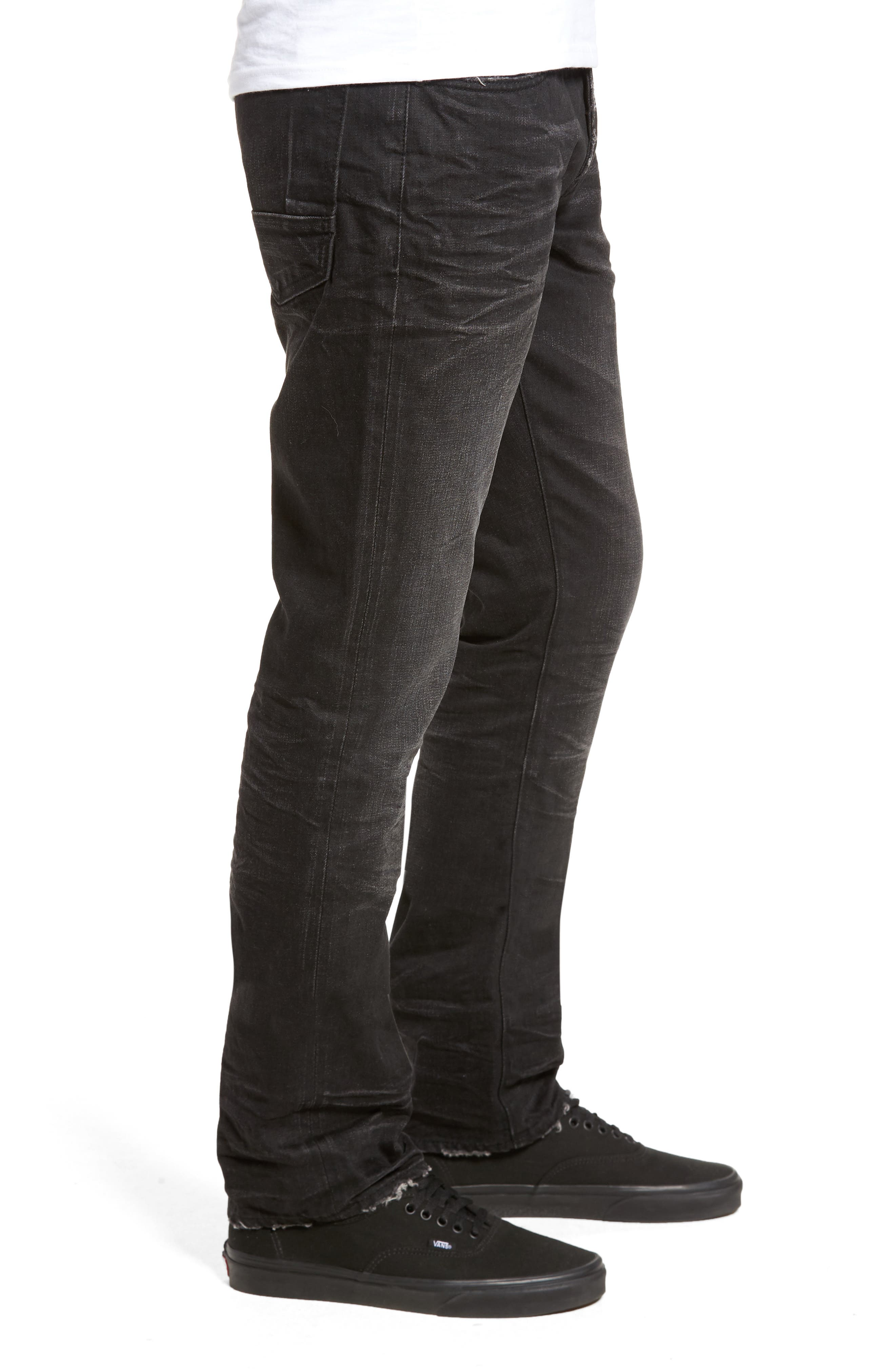 Slim Straight Leg Jeans,                             Alternate thumbnail 3, color,                             001