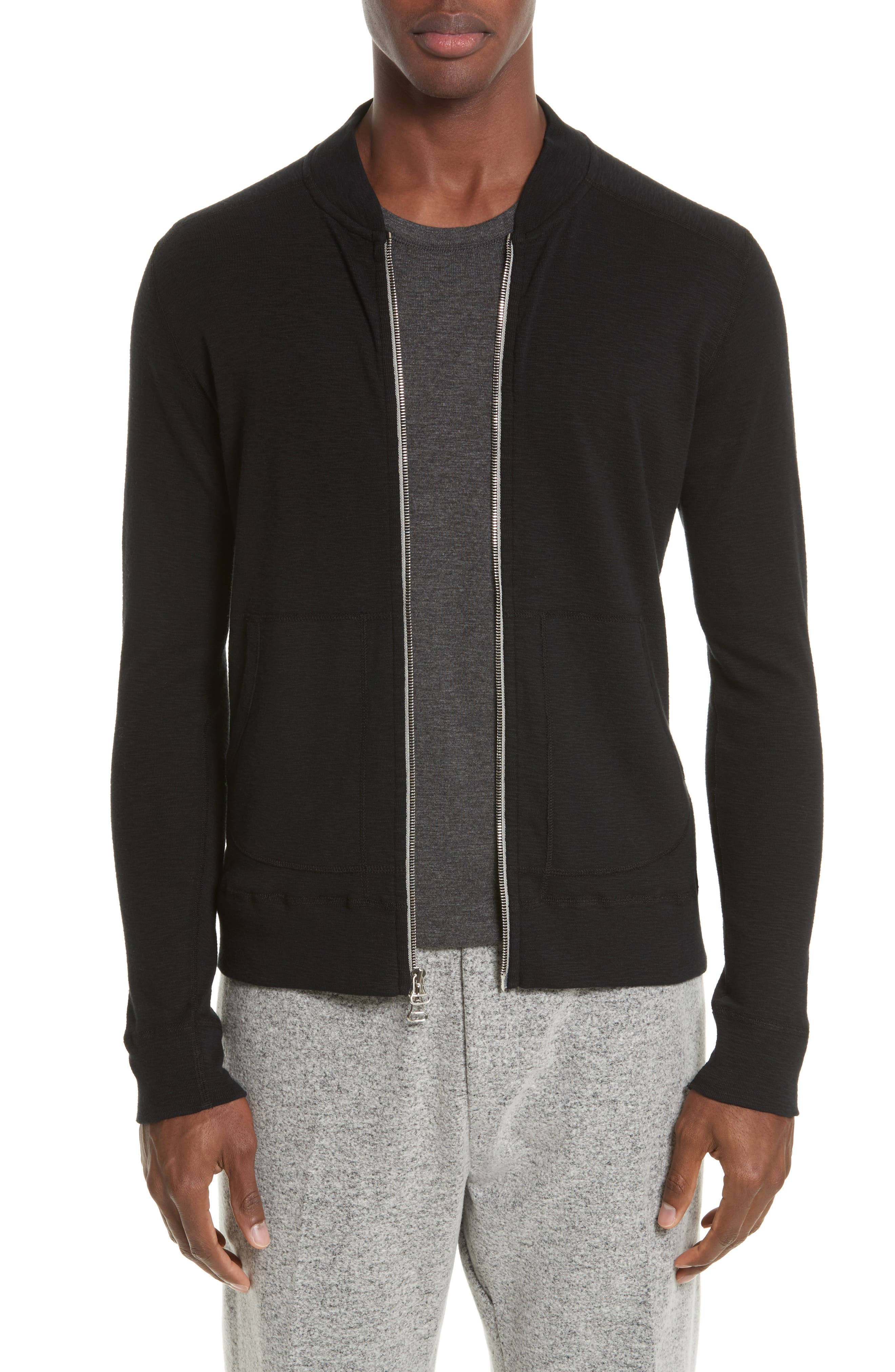 Slub Ribbed Bomber Jacket,                         Main,                         color, 001