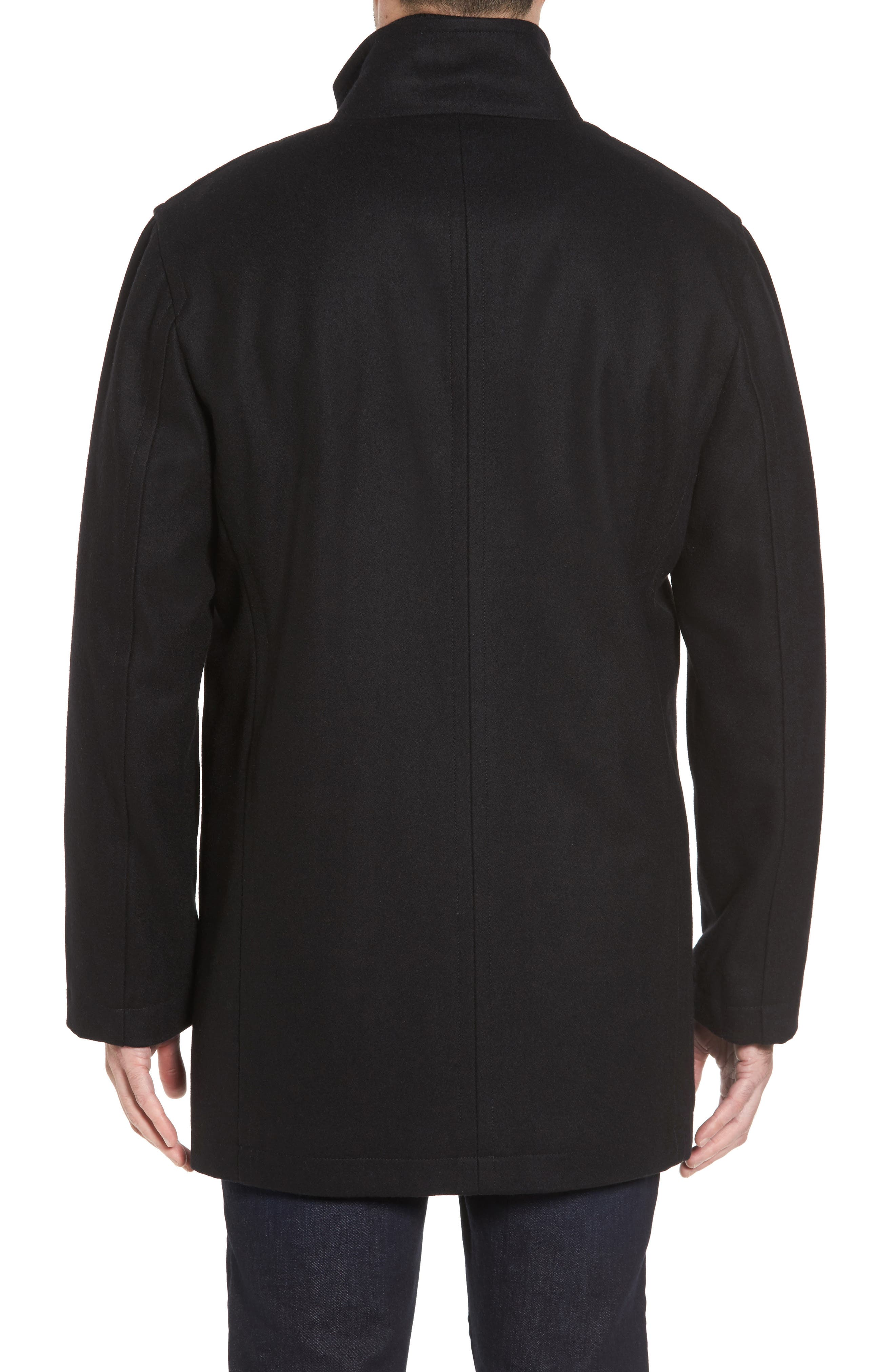 Melton Wool Blend Coat,                             Alternate thumbnail 2, color,                             BLACK
