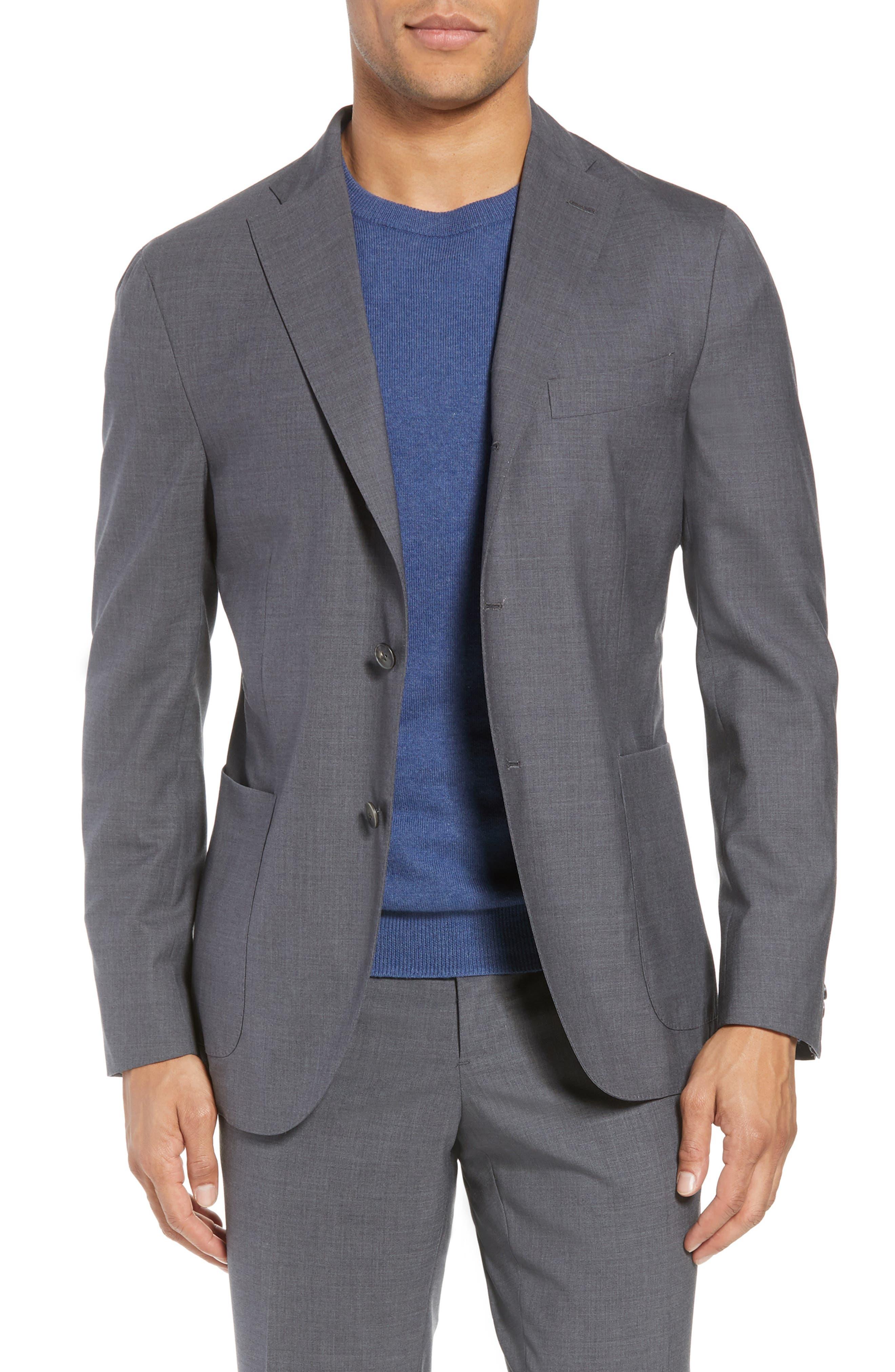 Trim Fit Solid Wool Suit,                             Alternate thumbnail 5, color,                             MEDIUM GREY