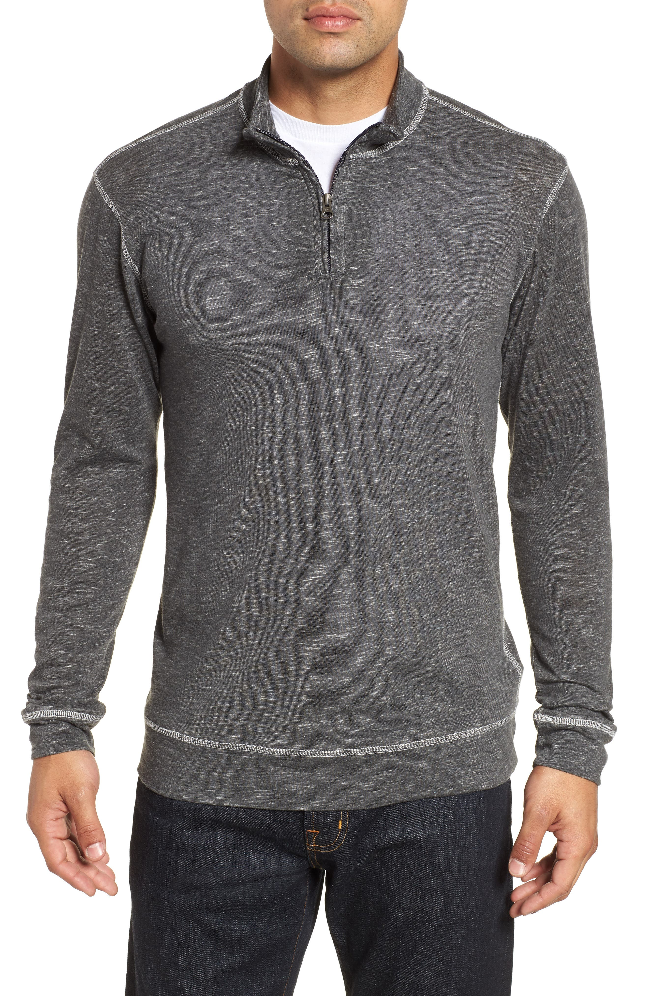 Space Dyed Quarter-Zip Shirt,                         Main,                         color, CHARCOAL