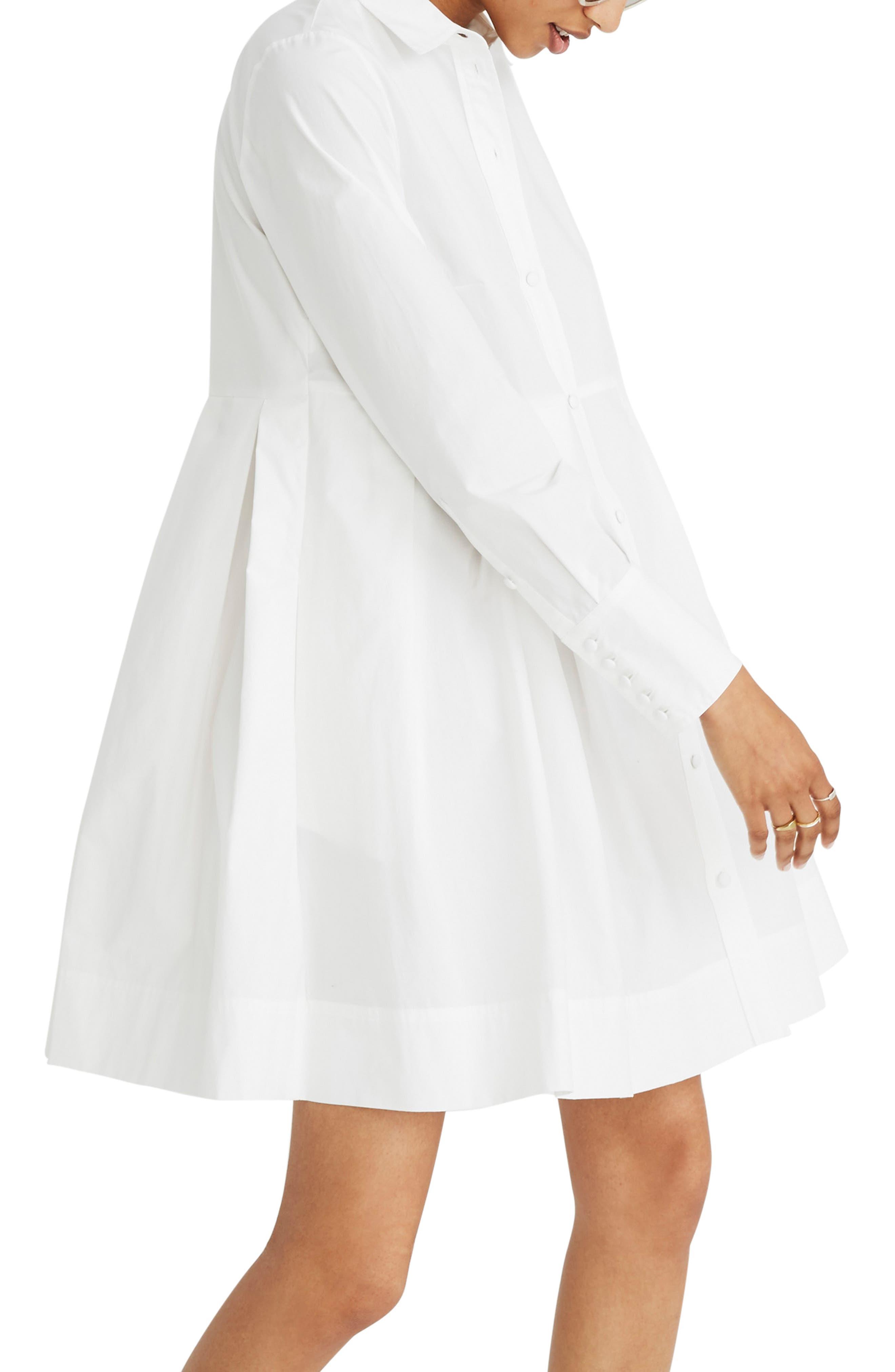 Box Pleat Shirtdress,                             Alternate thumbnail 3, color,                             WHITE WASH