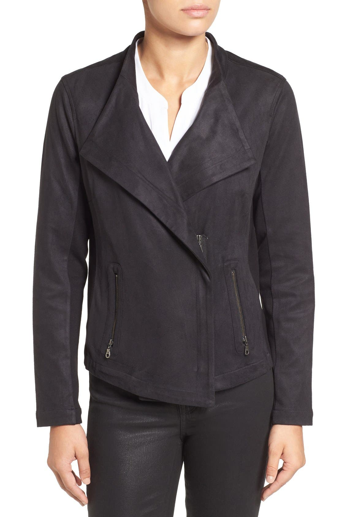 NIC+ZOE,                             Faux Suede Moto Jacket,                             Alternate thumbnail 4, color,                             004