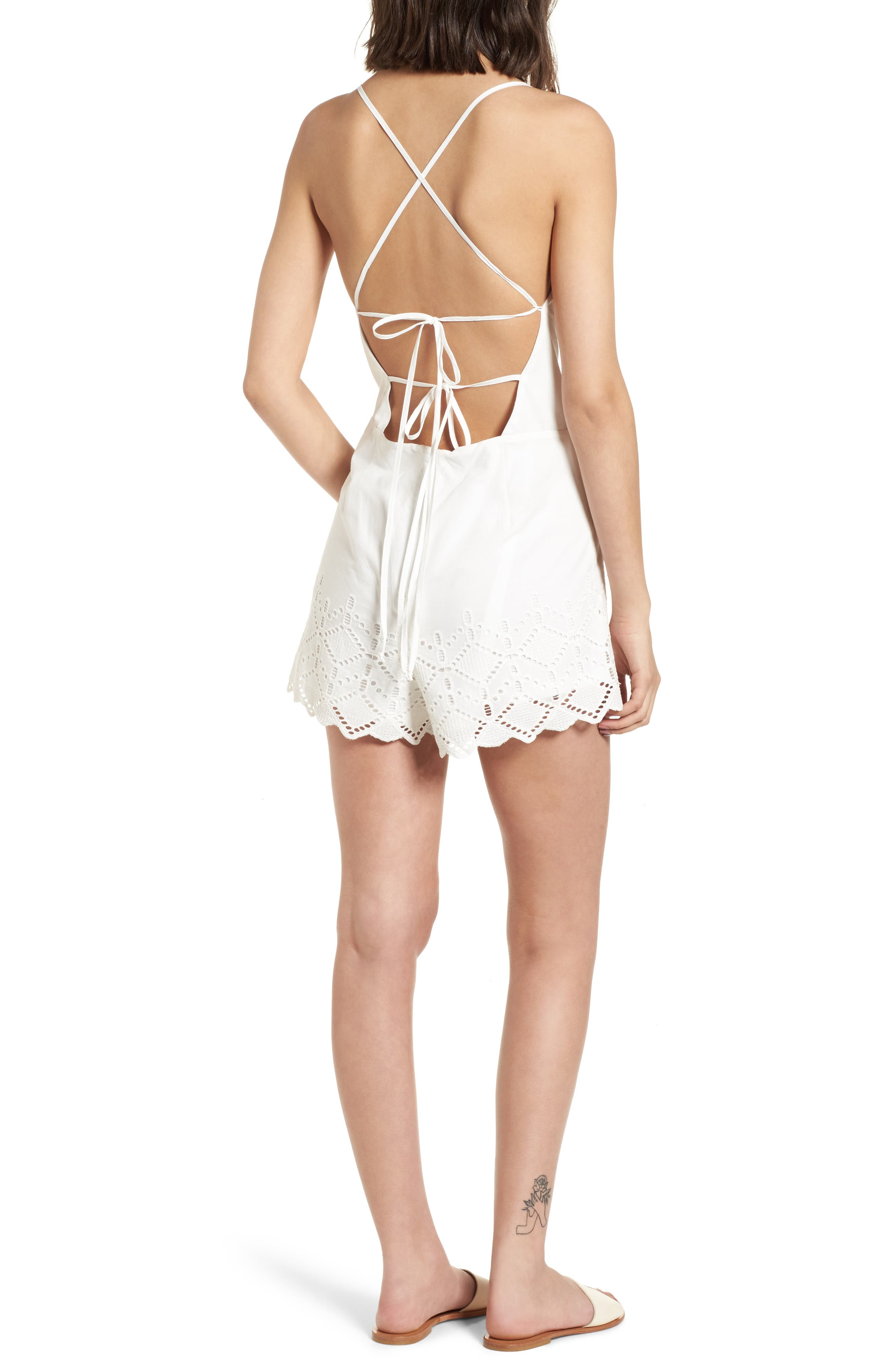 Strappy Eyelet Romper,                             Alternate thumbnail 2, color,                             100