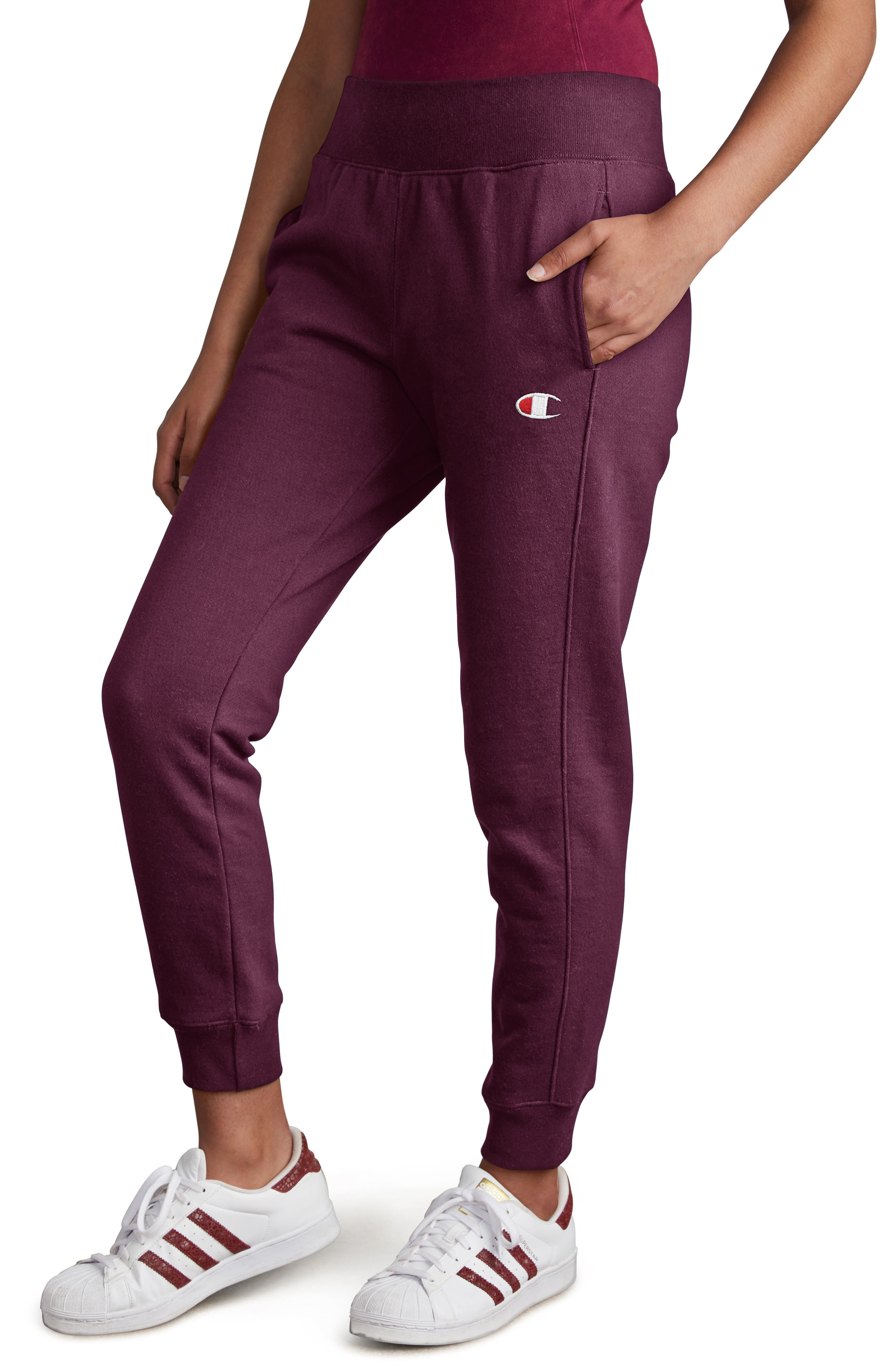 CHAMPION,                             Reverse Weave Jogger Pants,                             Alternate thumbnail 3, color,                             DARK BERRY PURPLE