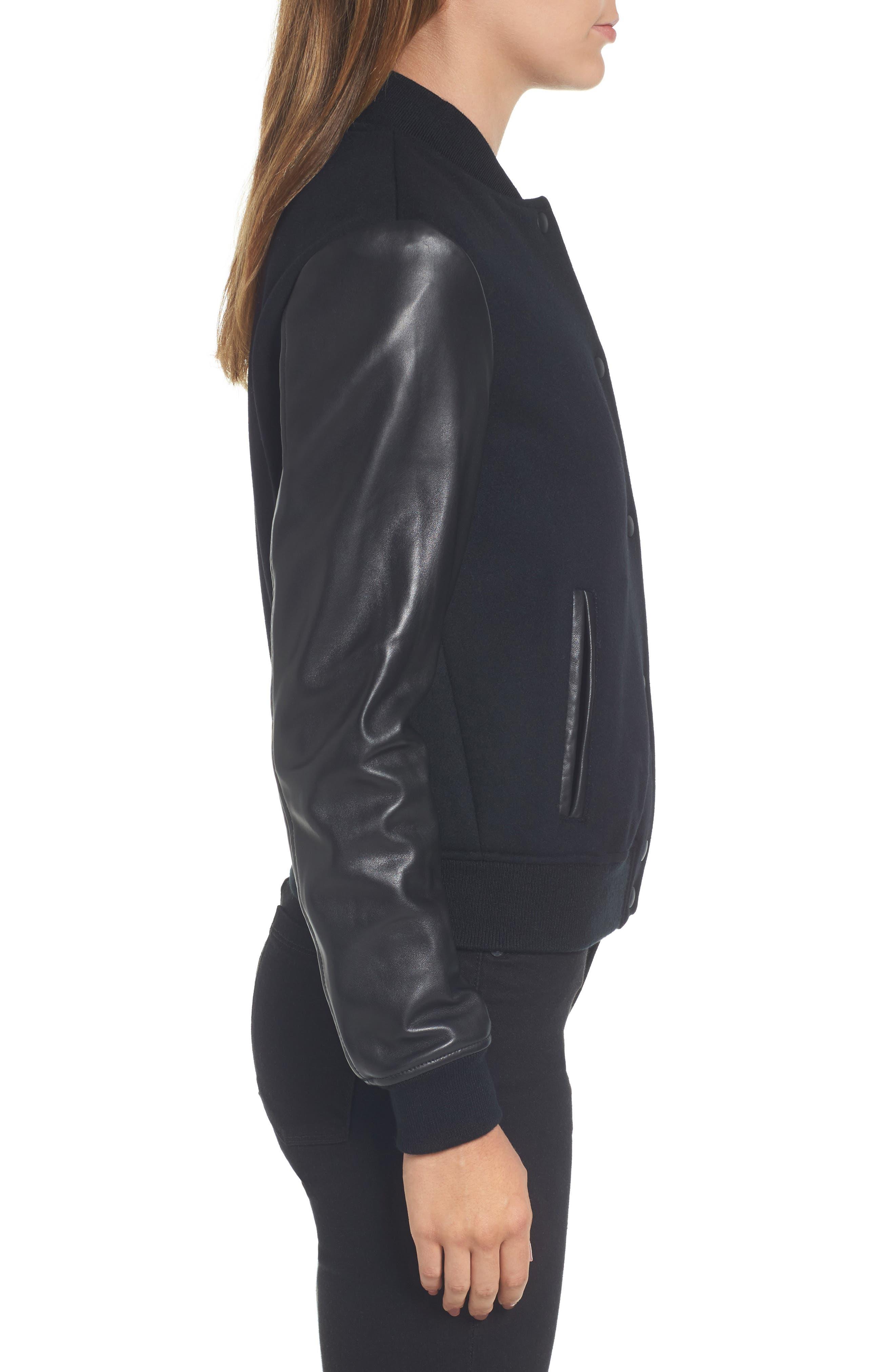 Leather Sleeve Varsity Jacket,                             Alternate thumbnail 3, color,                             001