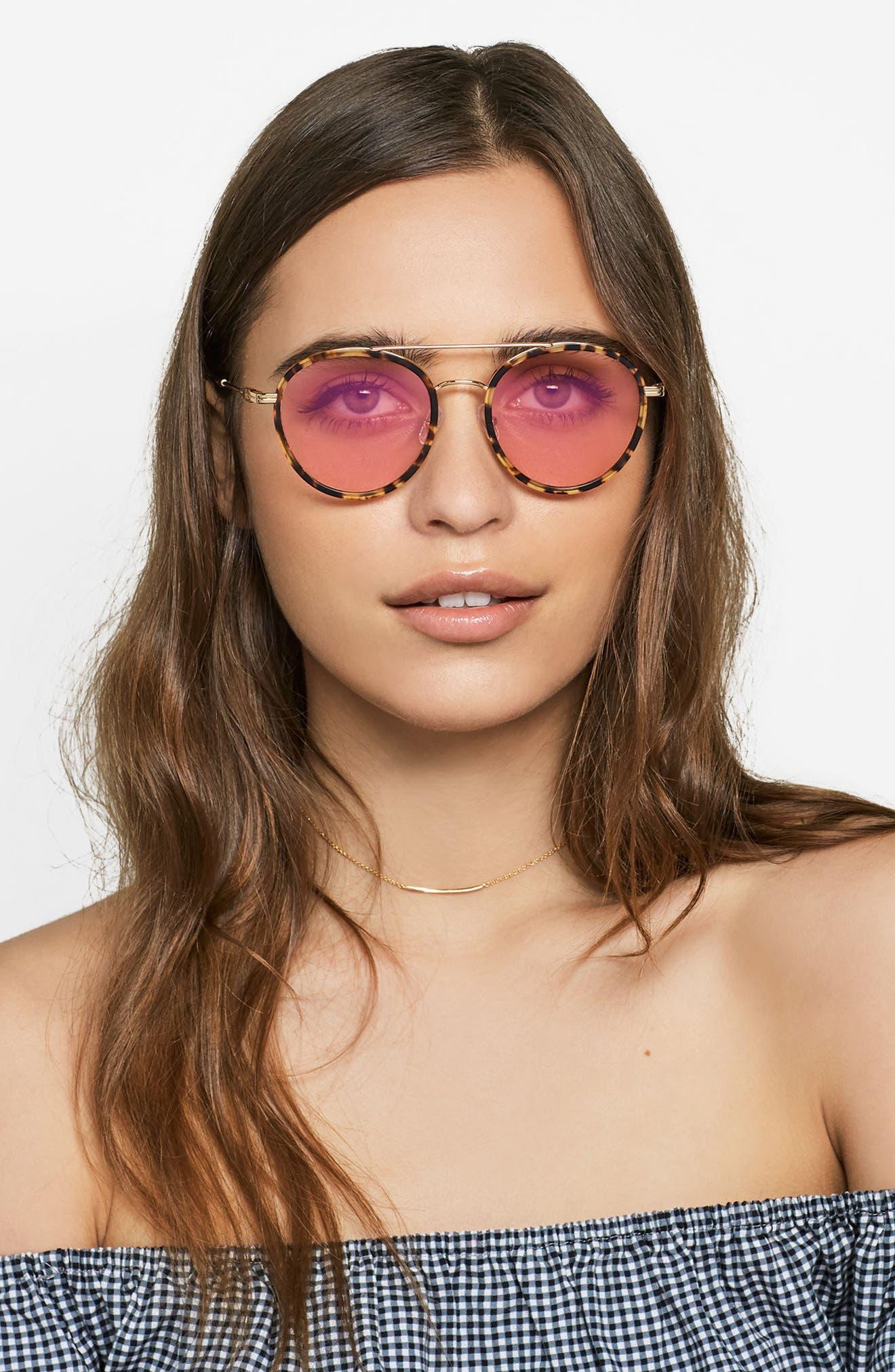 Charli 50mm Mirrored Lens Round Sunglasses,                             Alternate thumbnail 16, color,