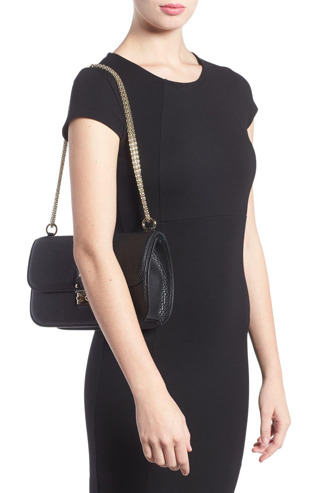 Medium Lock Studded Leather Shoulder Bag,                             Alternate thumbnail 4, color,                             NERO