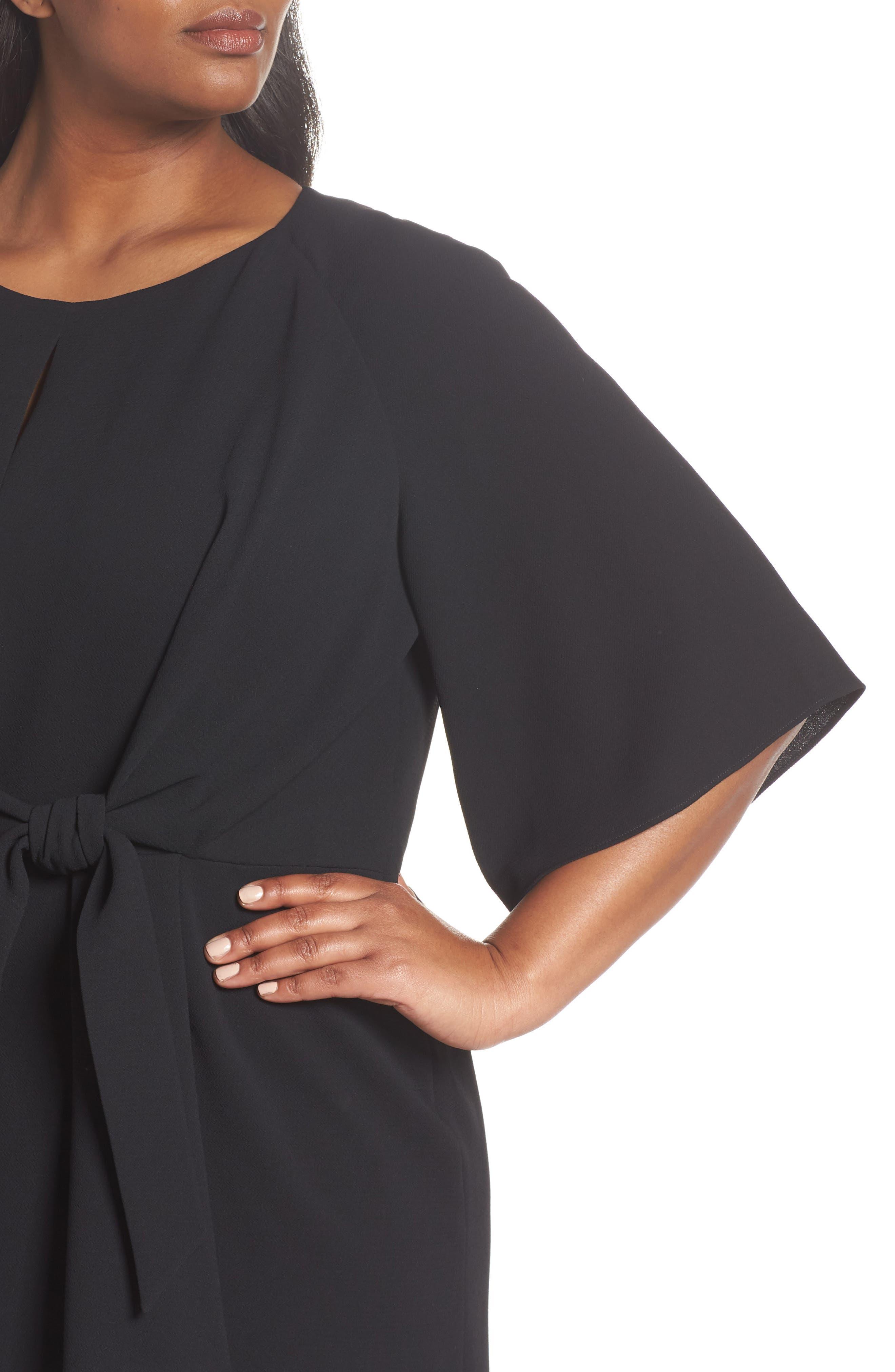 Tie Front Crepe Shift Dress,                             Alternate thumbnail 4, color,                             BLACK