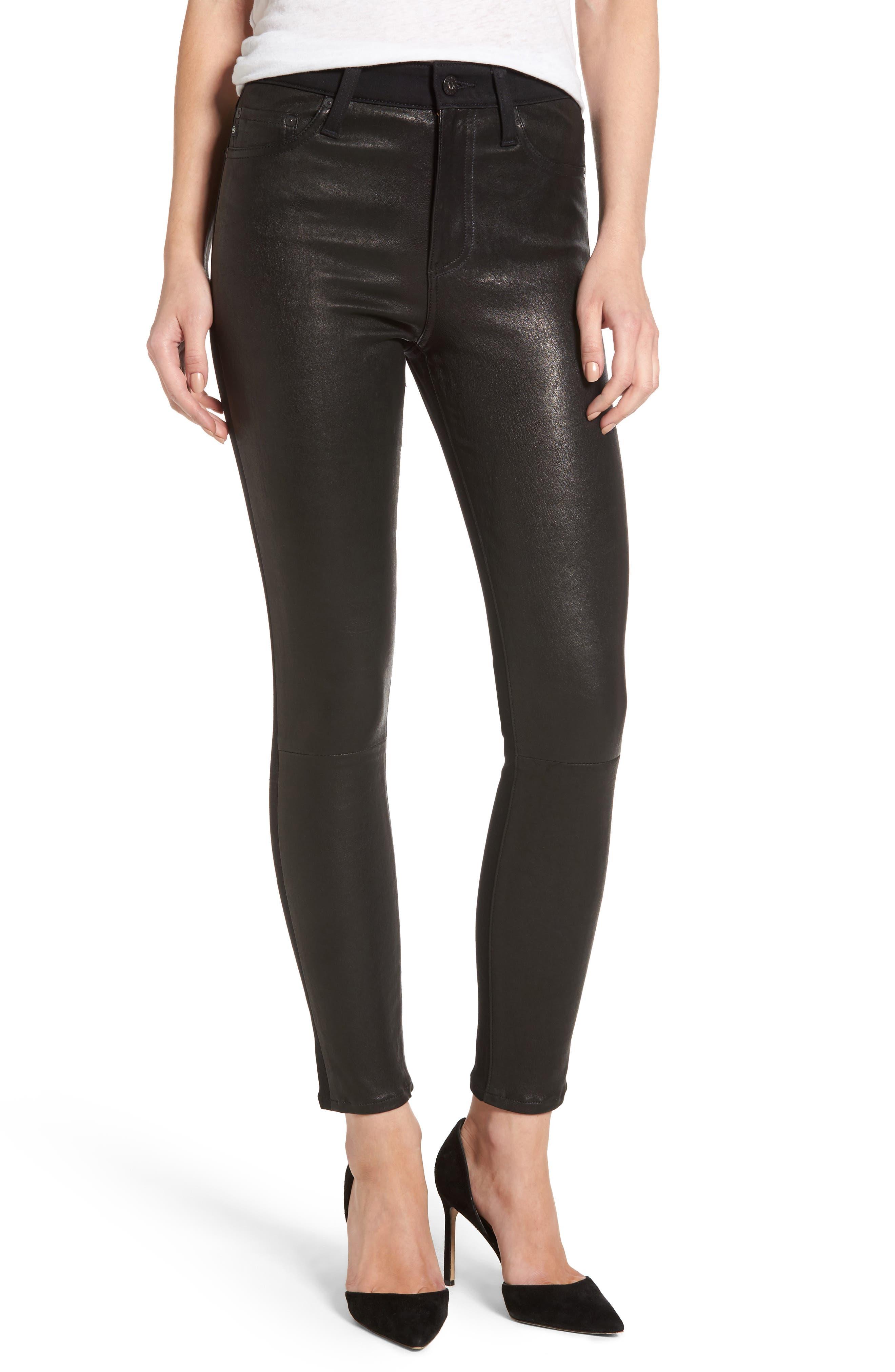 The Farrah High Waist Ankle Skinny Faux Leather Pants,                             Main thumbnail 2, color,
