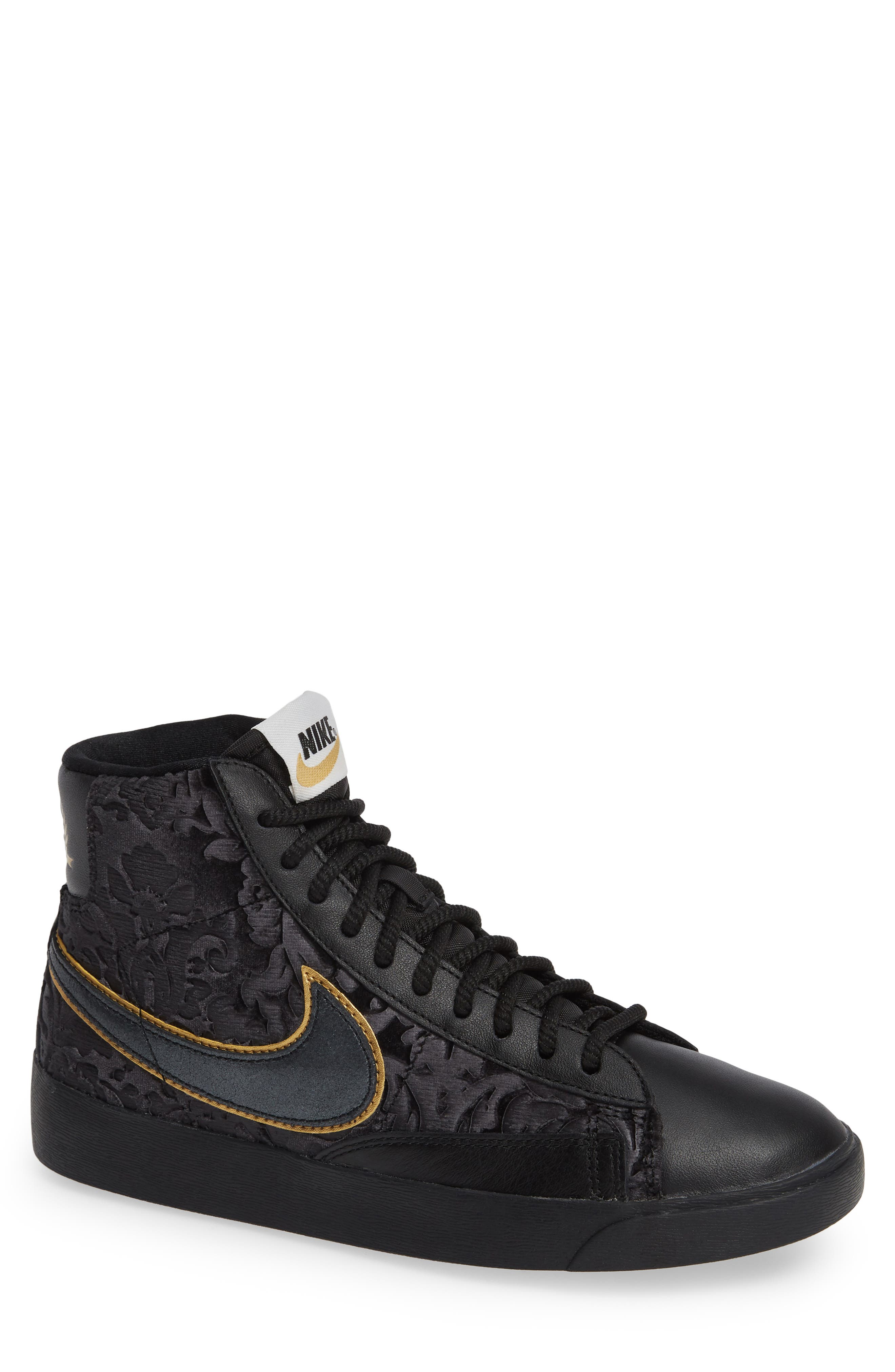 Blazer Mid Top Sneaker,                         Main,                         color, BLACK/ GOLD/ SUMMIT WHITE