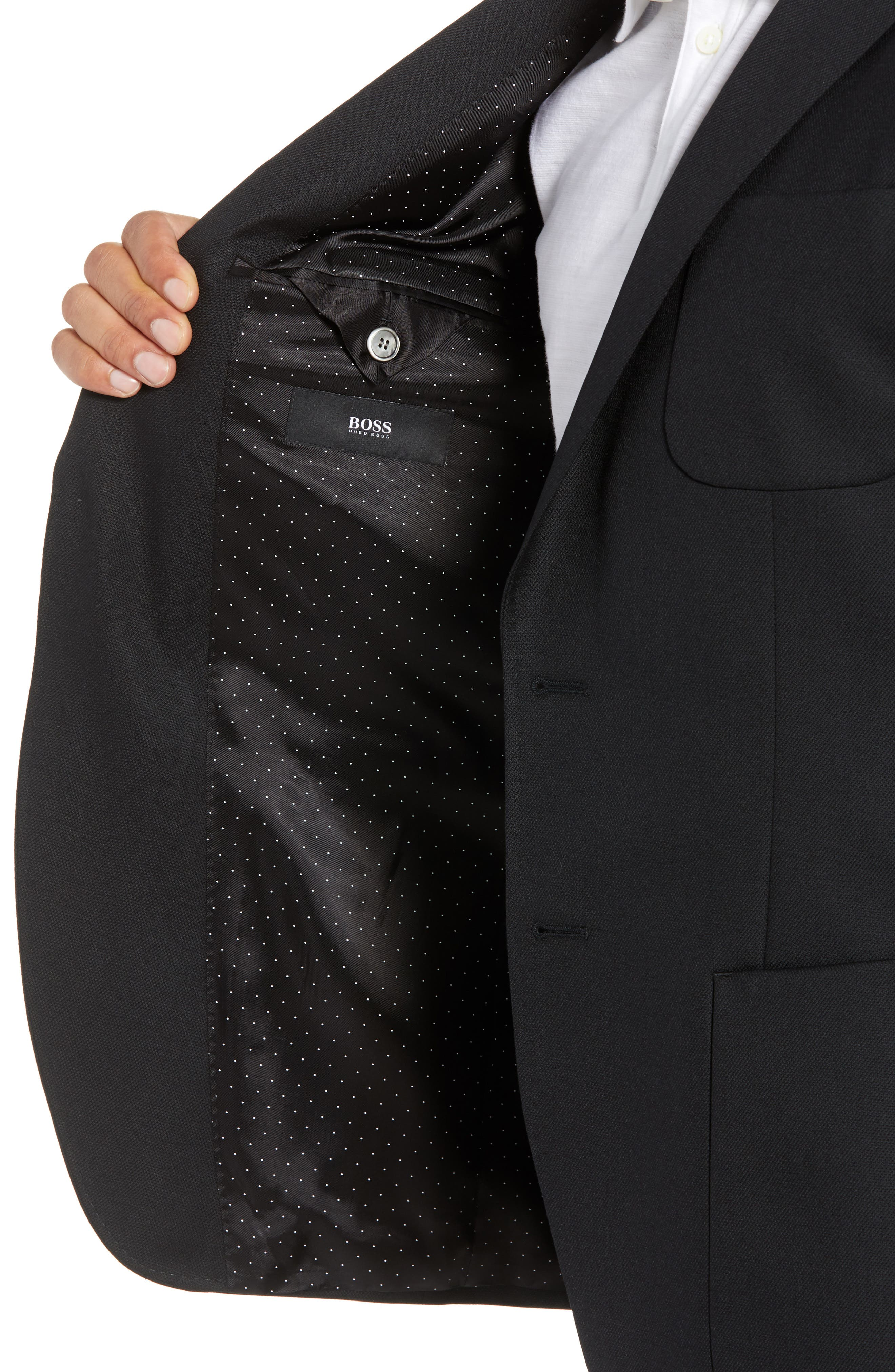 BOSS,                             Raye Extra Trim Fit Sport Coat,                             Alternate thumbnail 4, color,                             BLACK