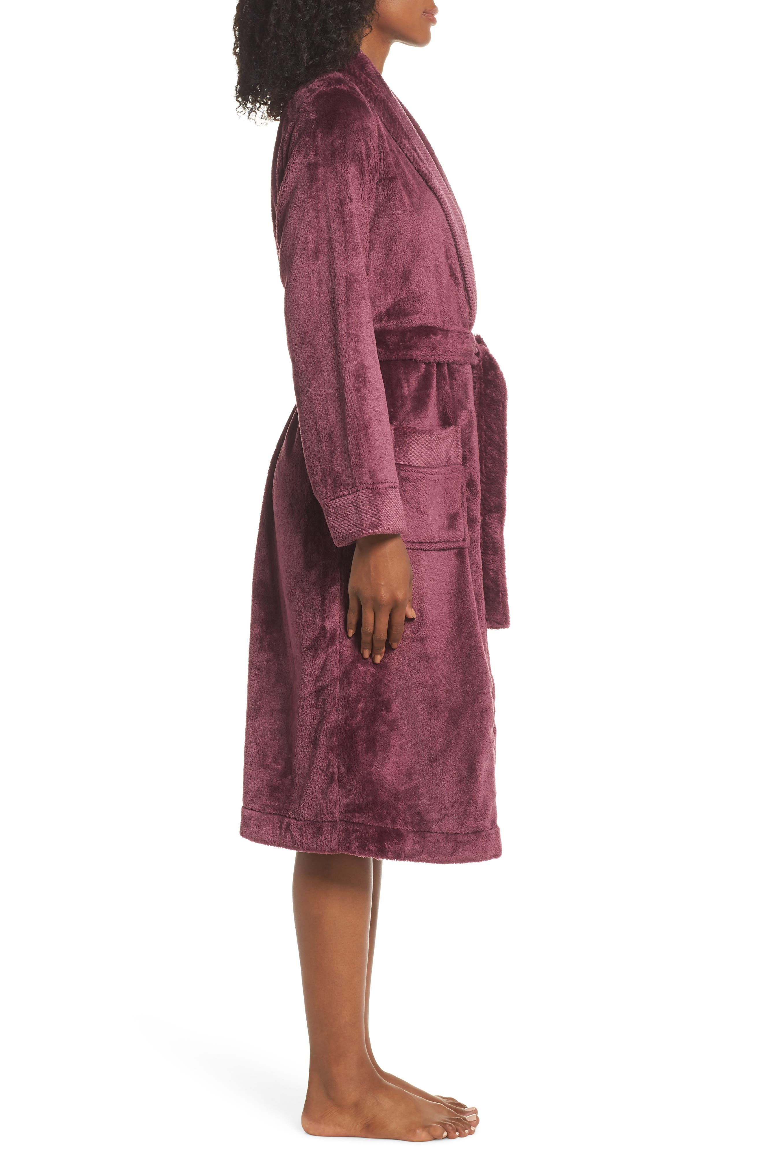 Nordstrom So Soft Plush Robe,                             Alternate thumbnail 3, color,                             PURPLE CRUSH