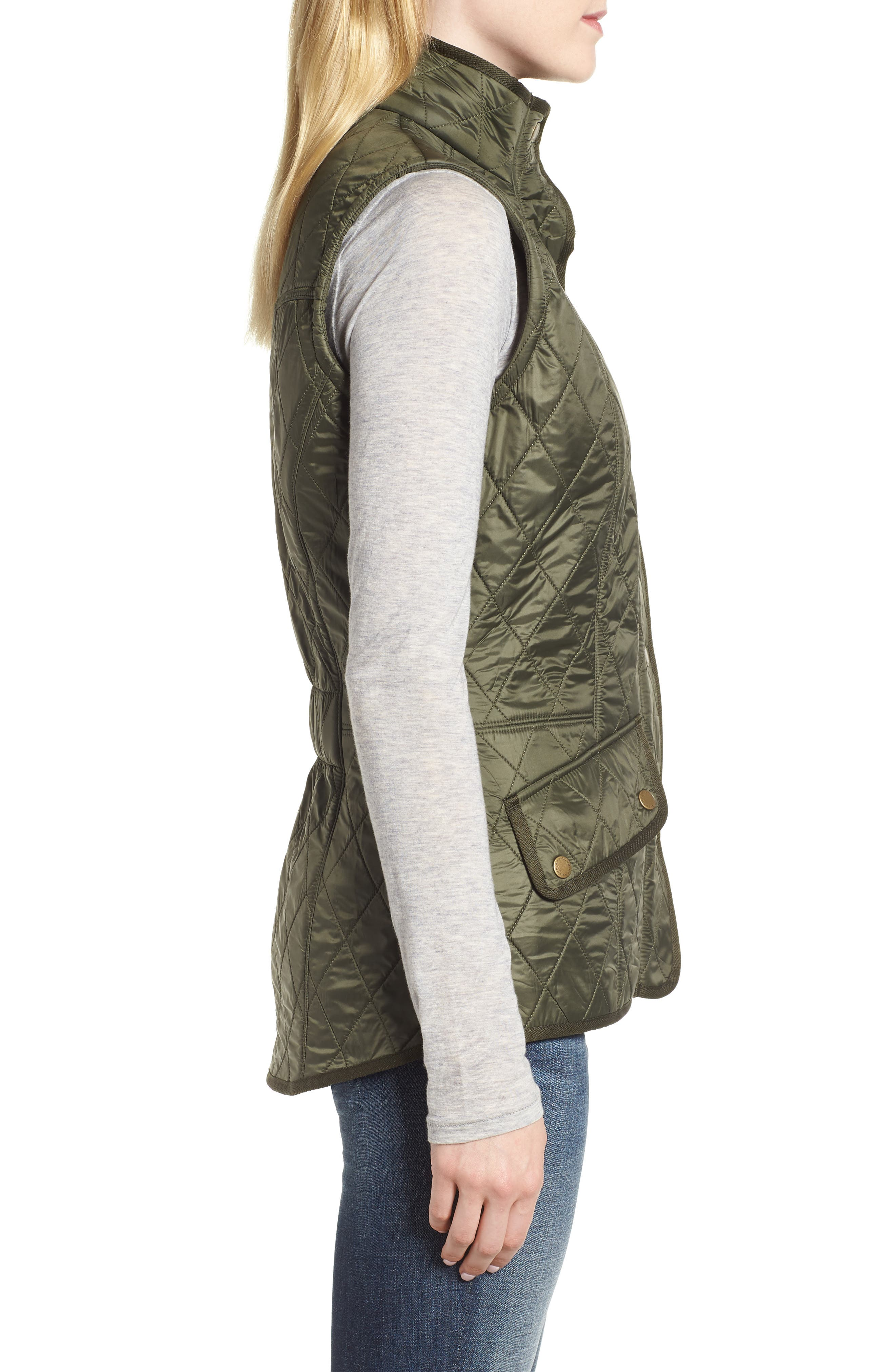 'Cavalry' Quilted Vest,                             Alternate thumbnail 3, color,                             OLIVE/ OLIVE