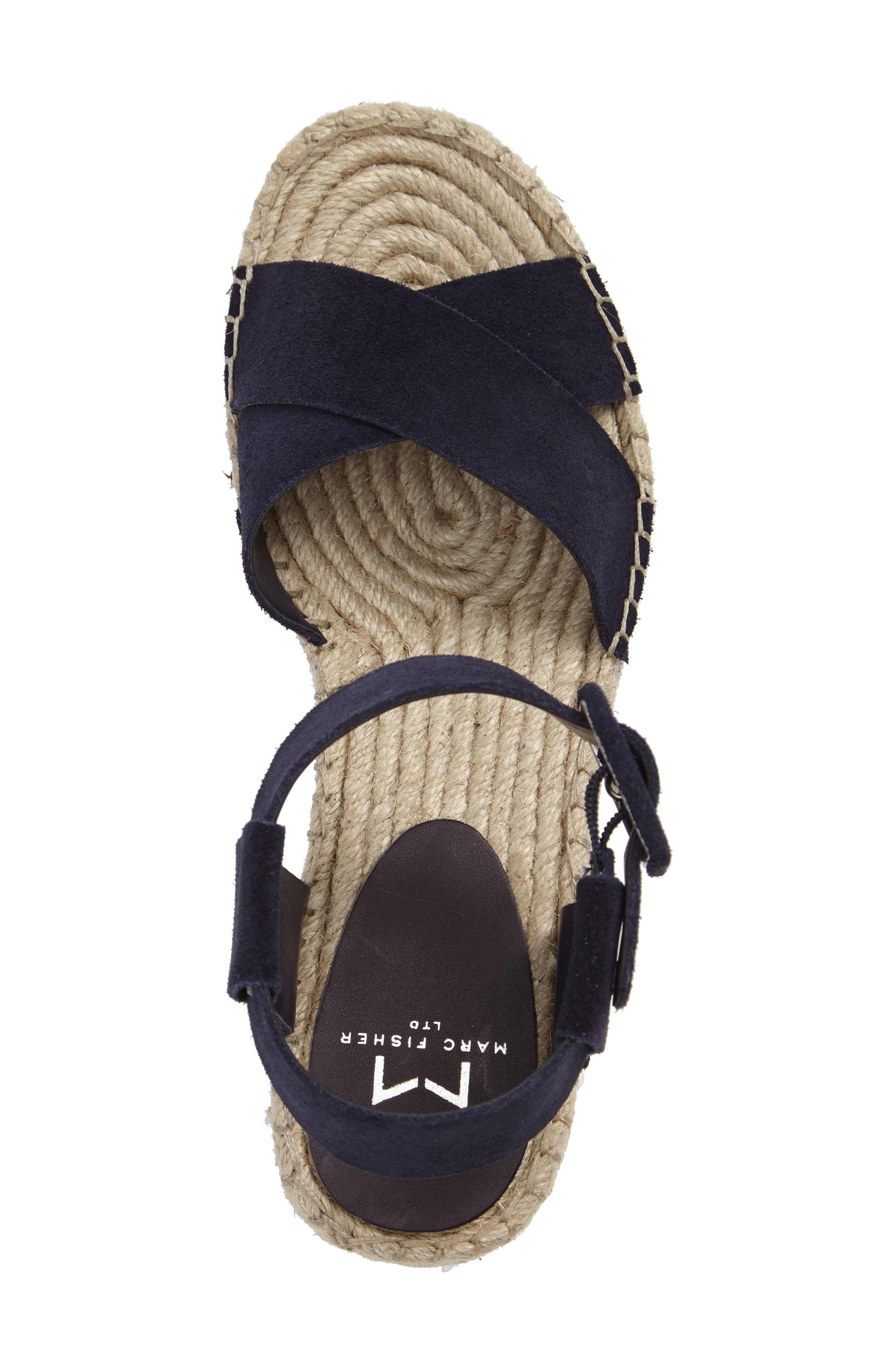 'Randall' Platform Wedge,                             Alternate thumbnail 3, color,                             NAVY SUEDE