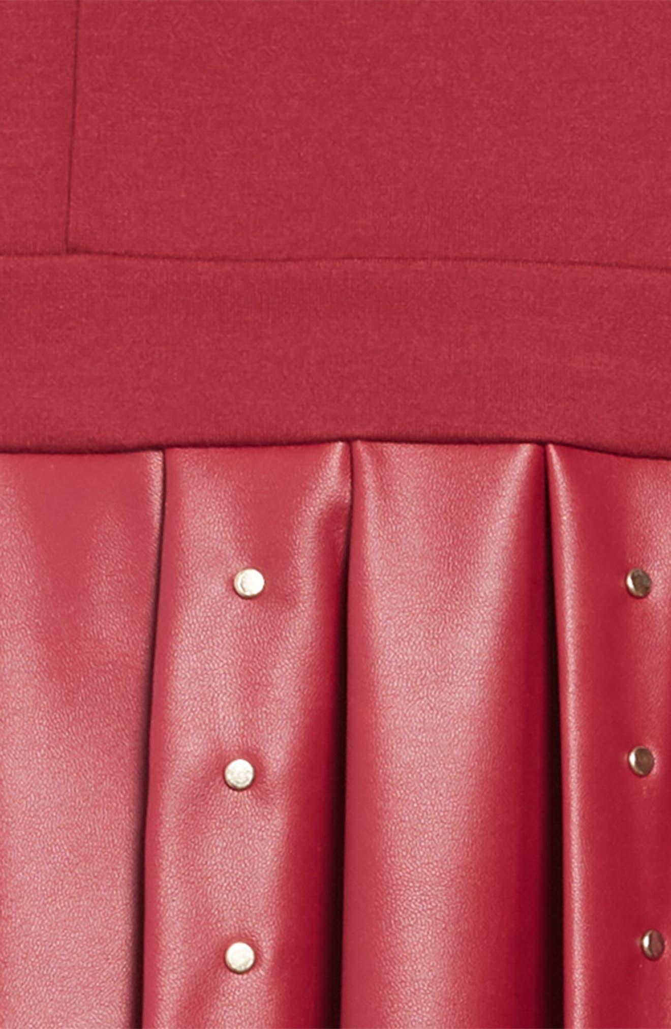 Studded Ponte & Faux Leather Dress,                             Alternate thumbnail 3, color,                             VIPU