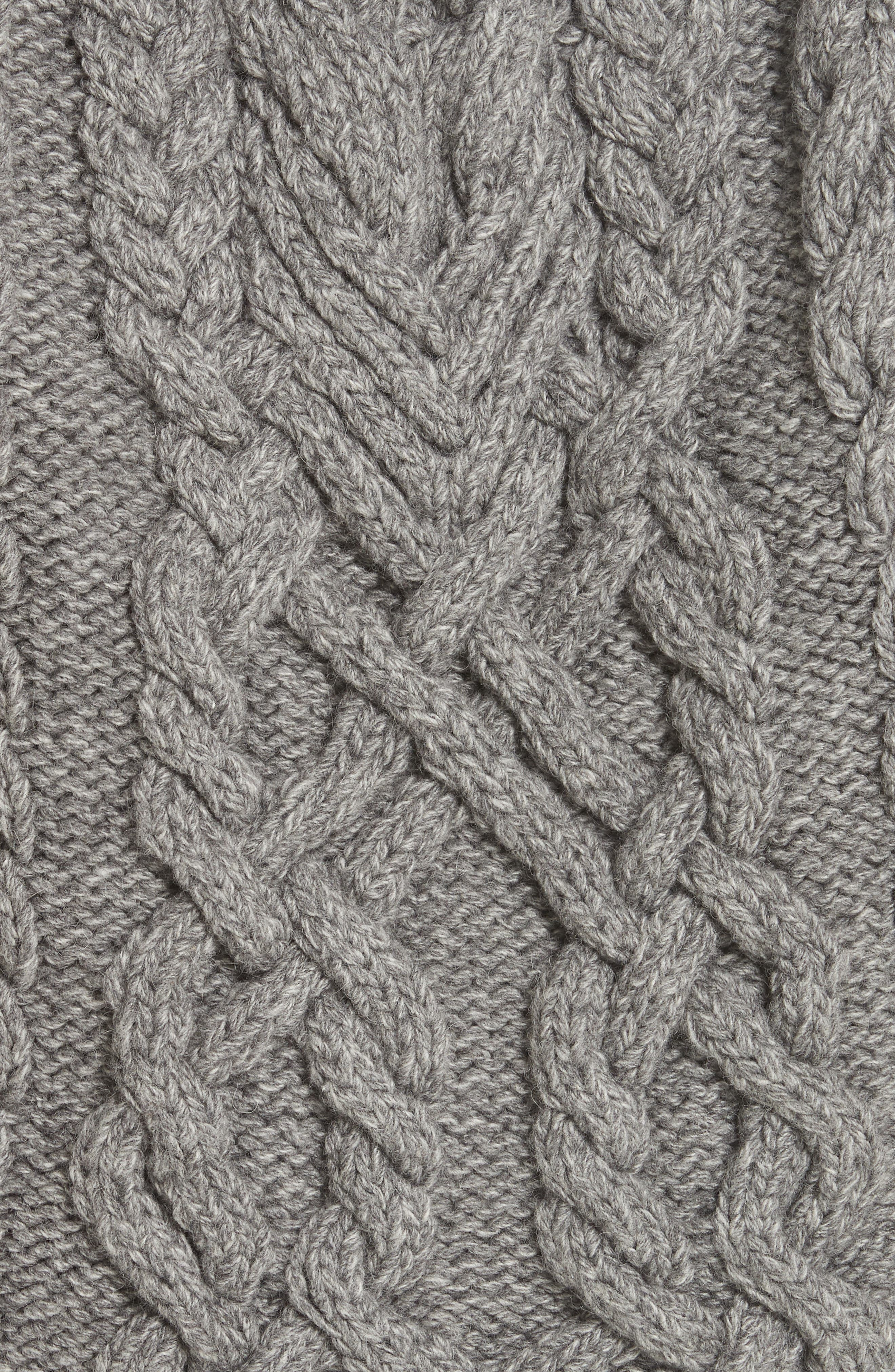 Mélange Cable Knit Hooded Sweater,                             Alternate thumbnail 5, color,                             GREY MELANGE