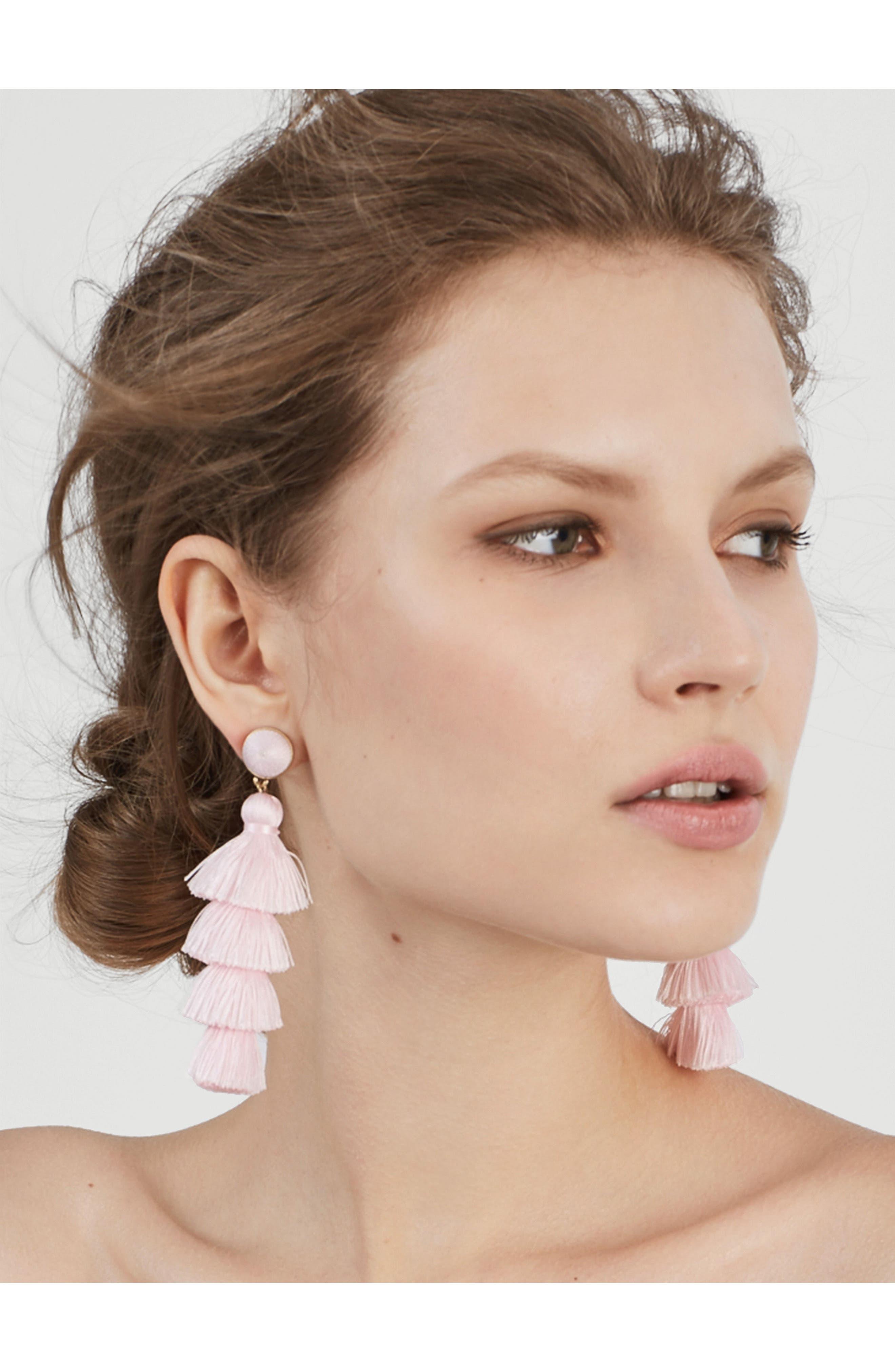 Gabriela Tassel Fringe Earrings,                             Alternate thumbnail 2, color,                             LIGHT PINK