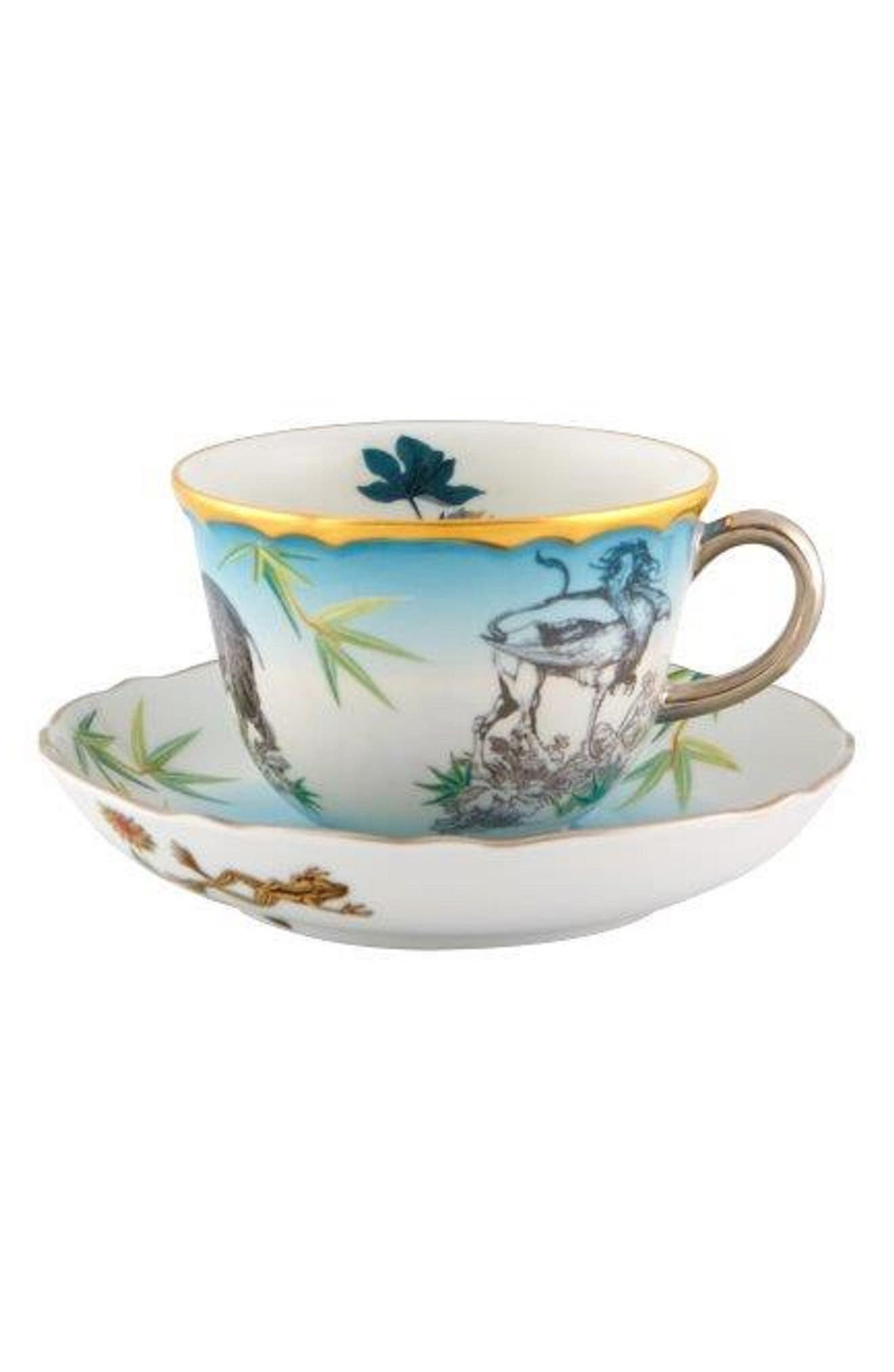 CHRISTIAN LACROIX,                             Reveries Teacup & Saucer,                             Main thumbnail 1, color,                             WHITE