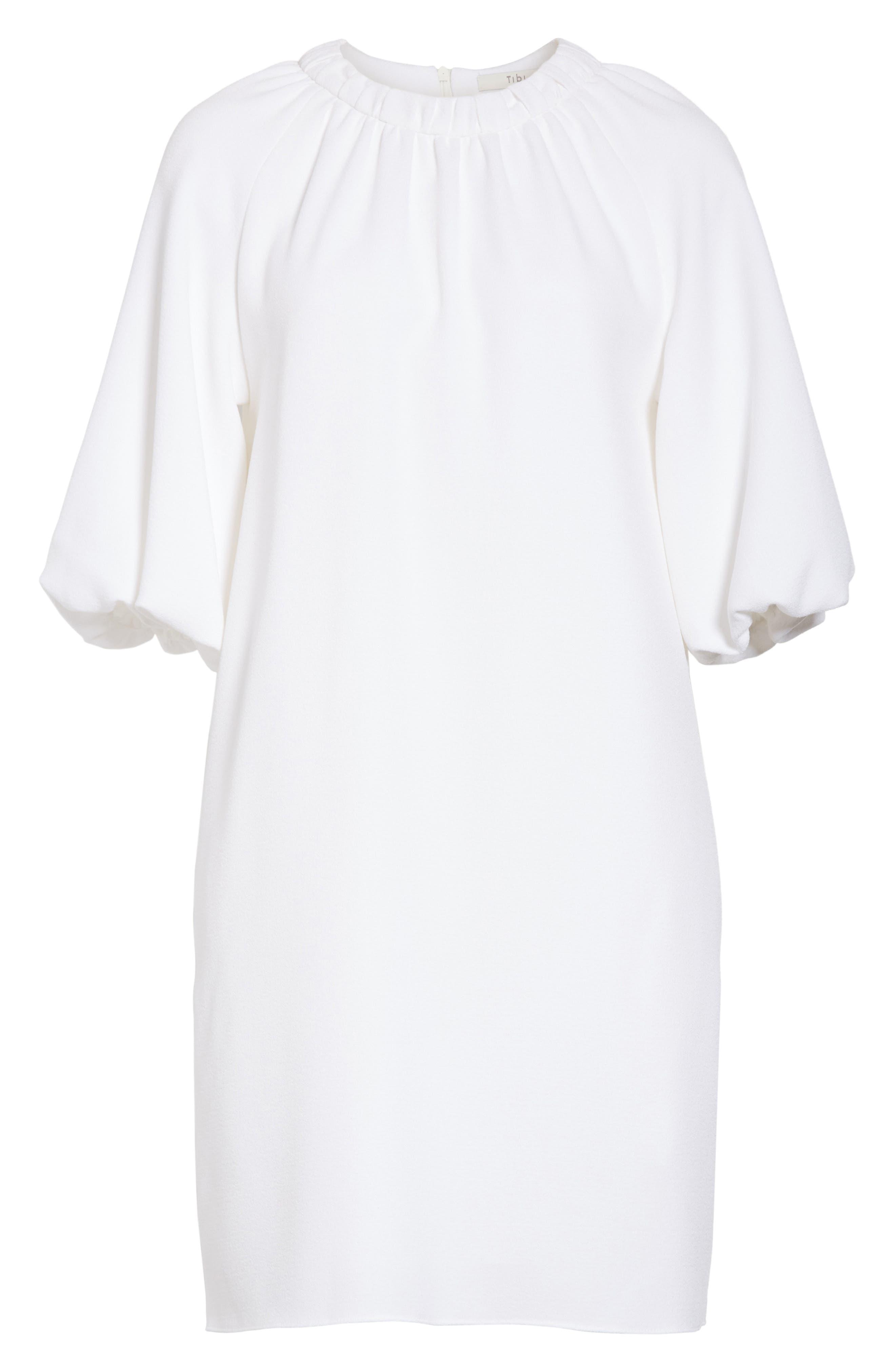 Shirred Neck Mica Crepe Shift Dress,                             Alternate thumbnail 6, color,