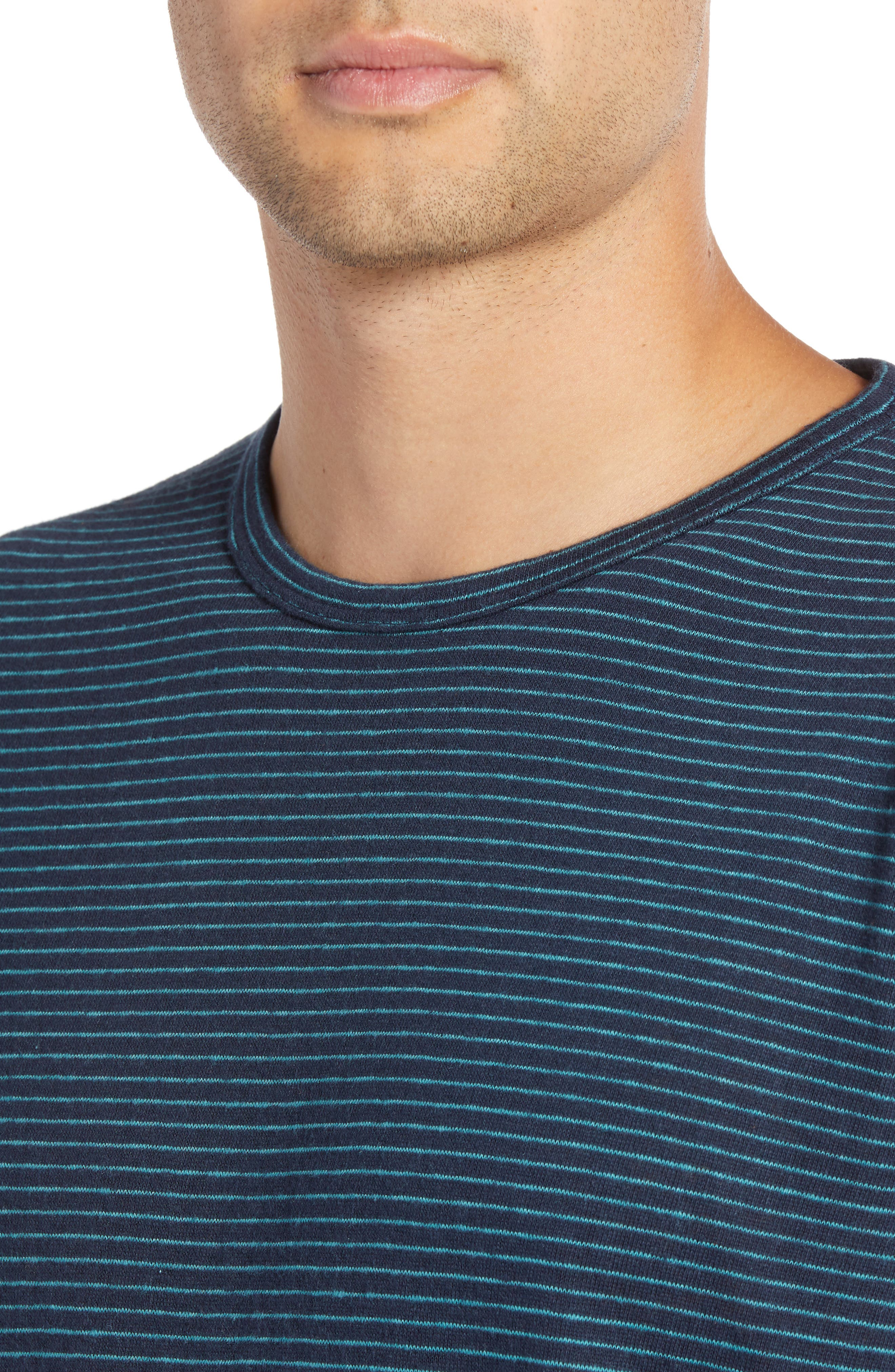 Narrow Stripe Long Sleeve T-Shirt,                             Alternate thumbnail 4, color,                             NAVY/ BLUE