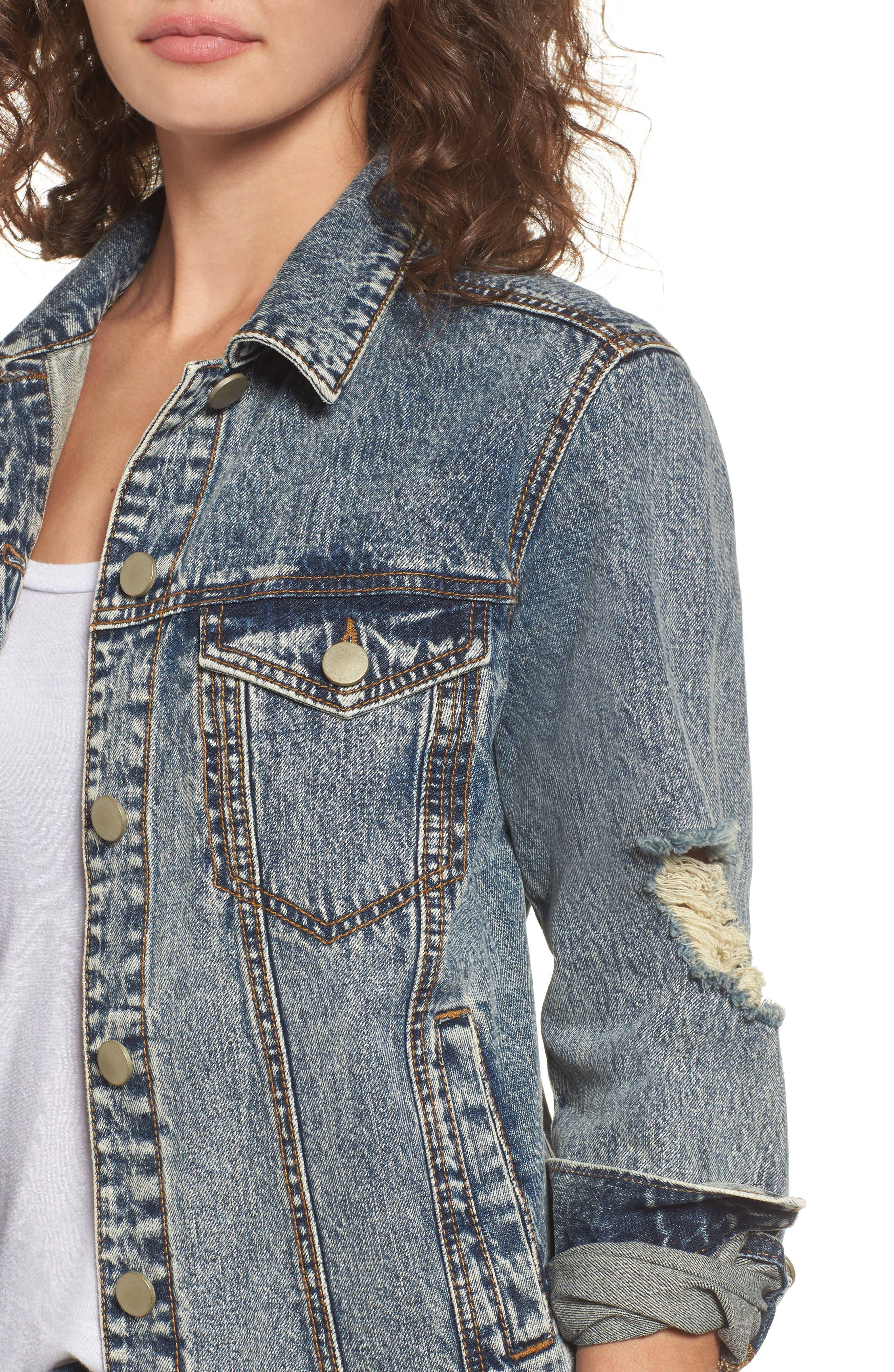 Bossy Embellished Denim Jacket,                             Alternate thumbnail 4, color,                             420