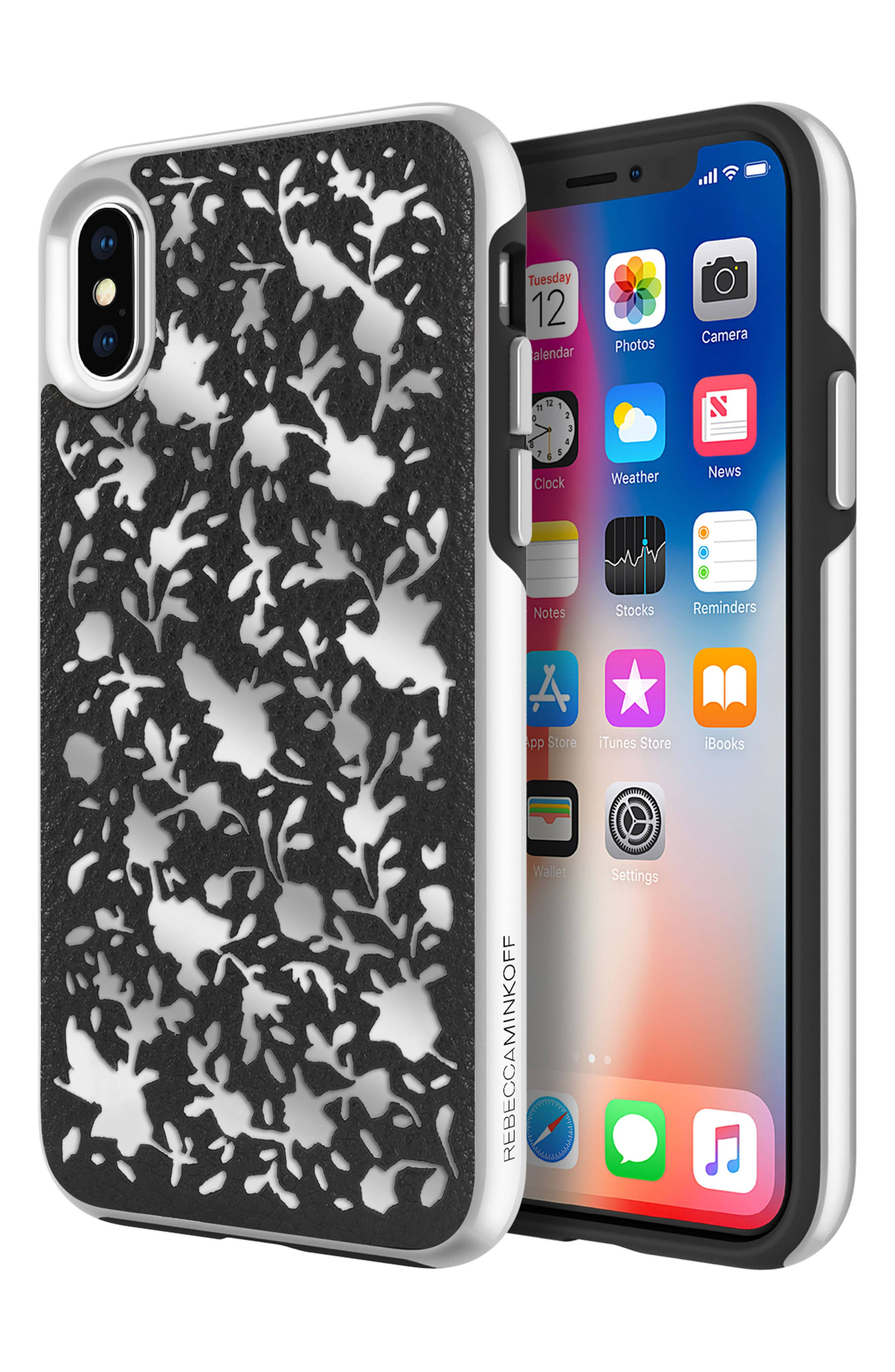 Luxury Calls Ditzy Floral iPhone X/Xs Case,                             Alternate thumbnail 5, color,                             BLACK/ SILVER