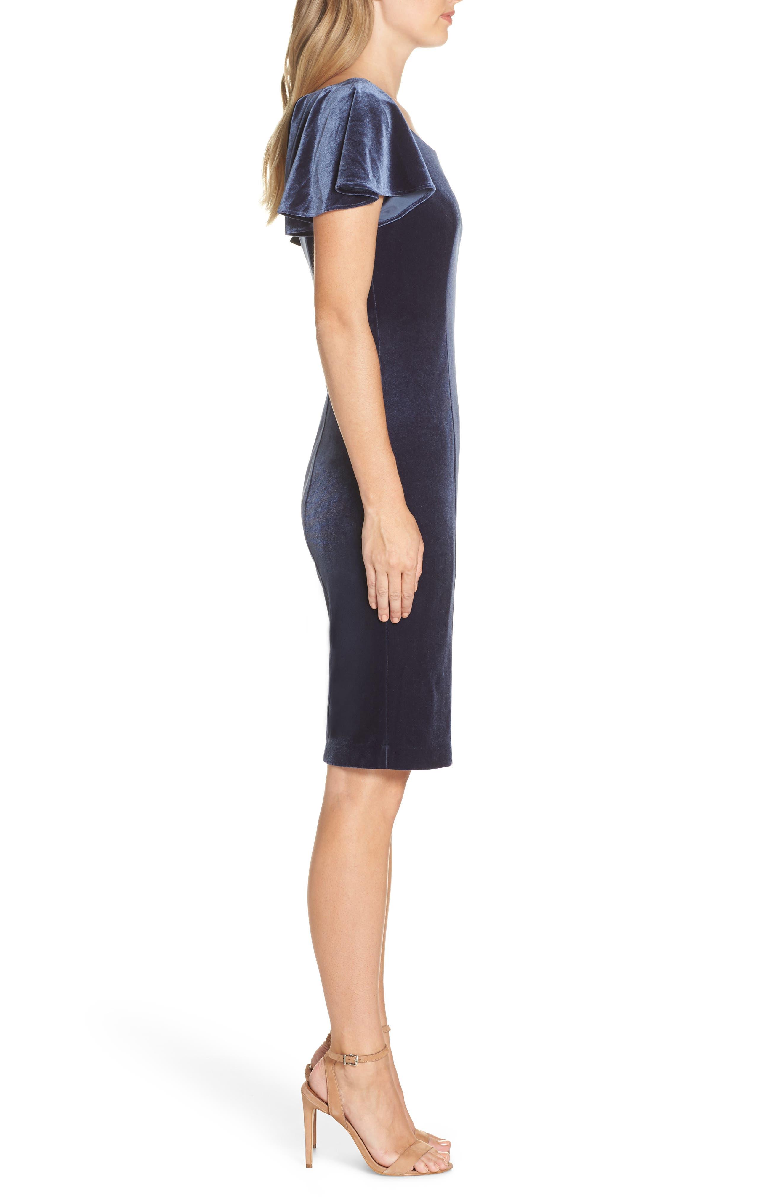 Scoop Neck Flutter Sleeve Velvet Sheath Dress,                             Alternate thumbnail 3, color,                             BLUE STEEL