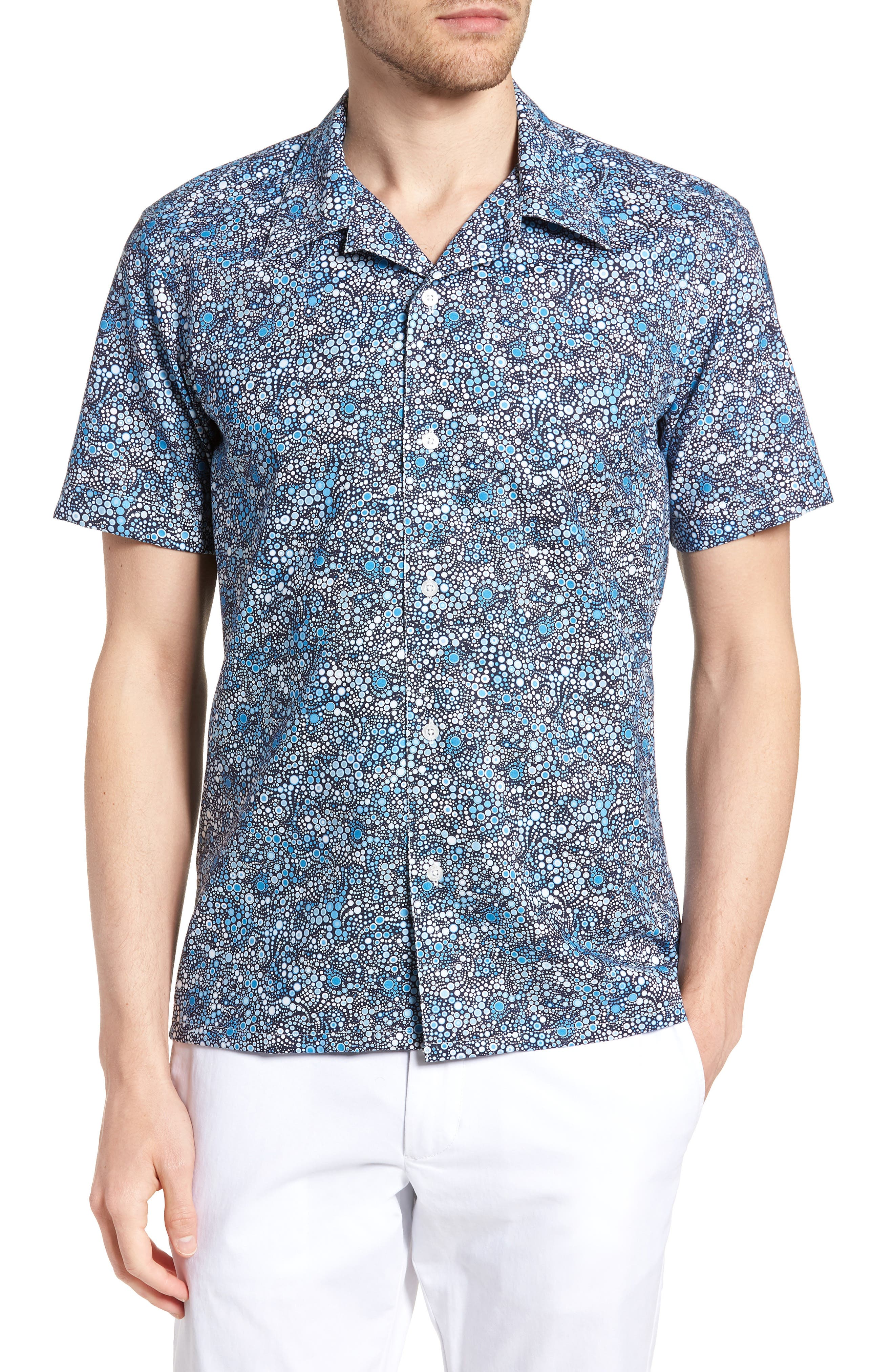Laguna Novelty Trim Fit Sport Shirt,                         Main,                         color, BLUE