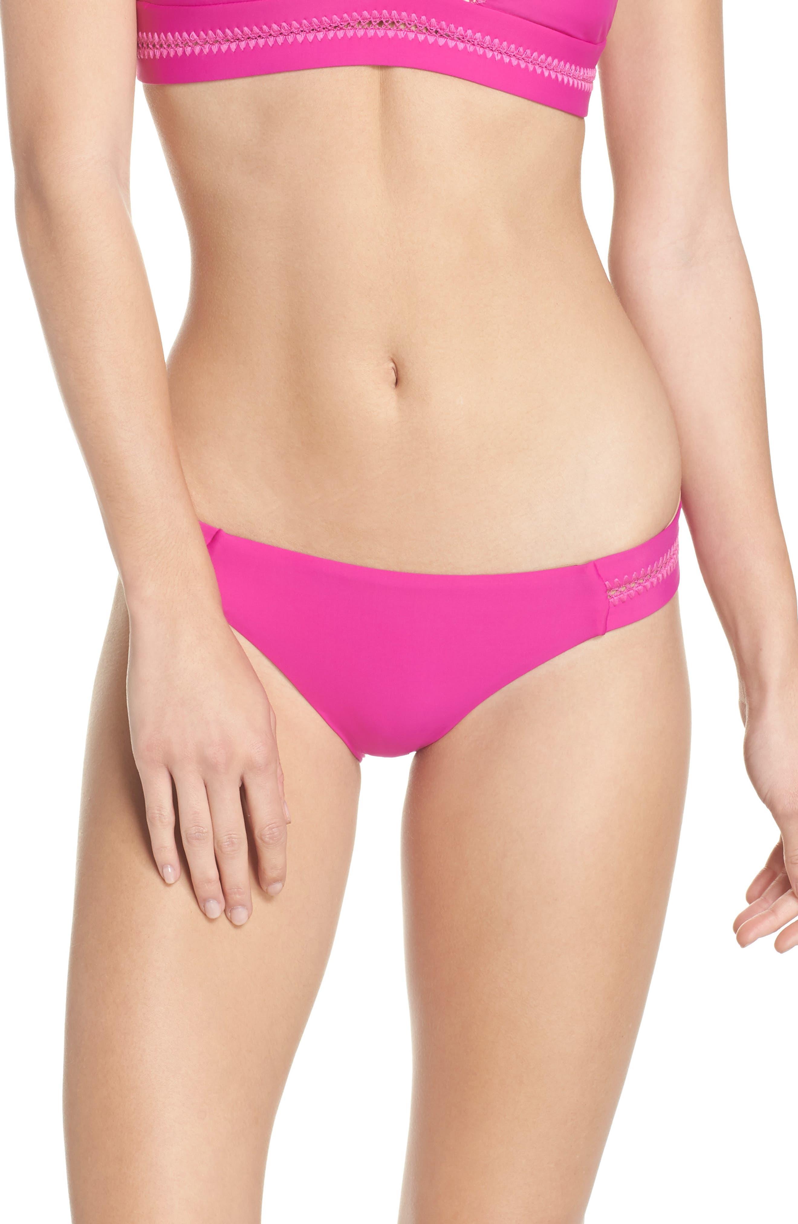 Teeny Stitched Bikini Bottoms,                         Main,                         color, FUCHSIA