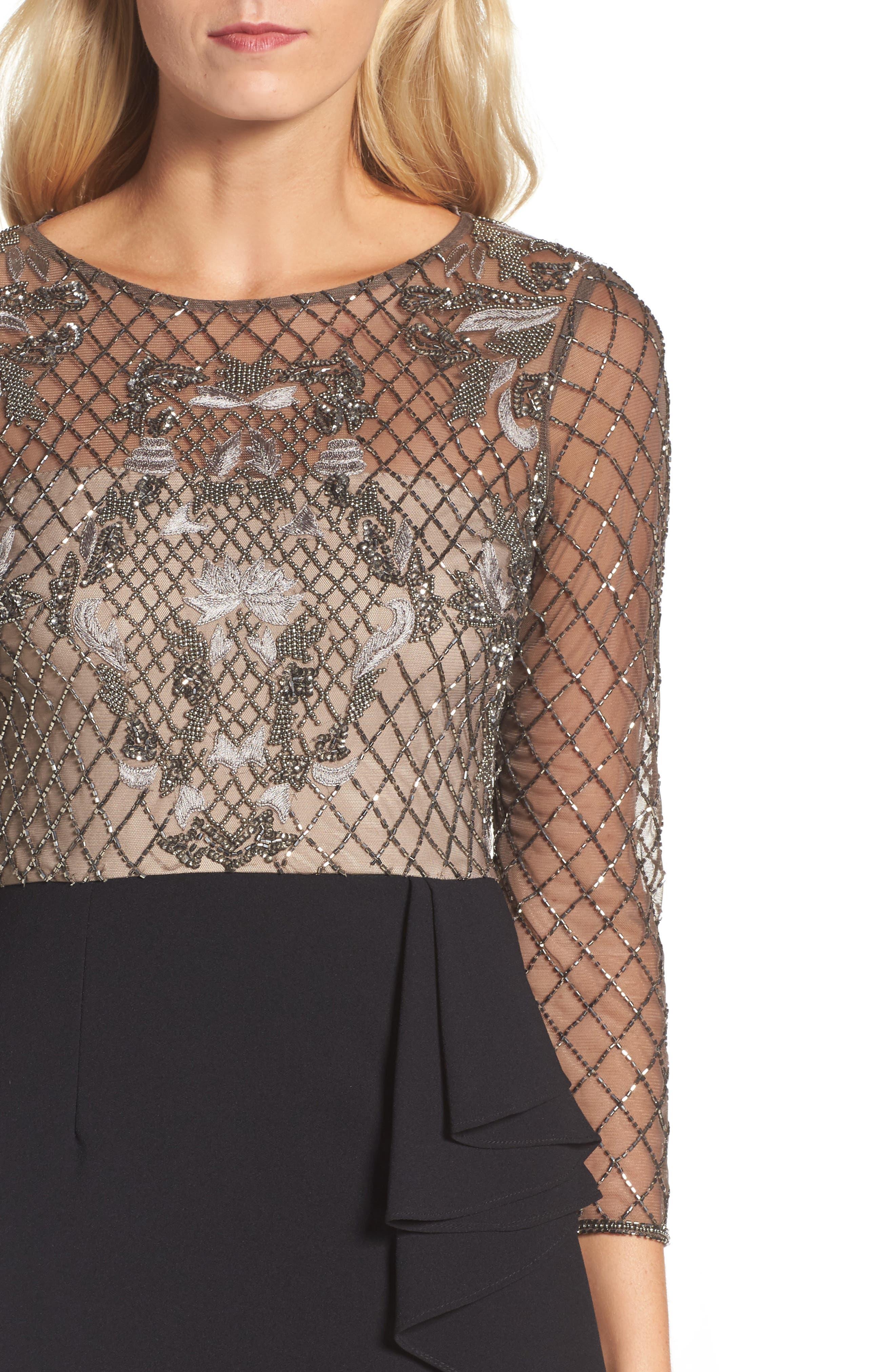 Embellished Bodice Drape Front Dress,                             Alternate thumbnail 4, color,                             002
