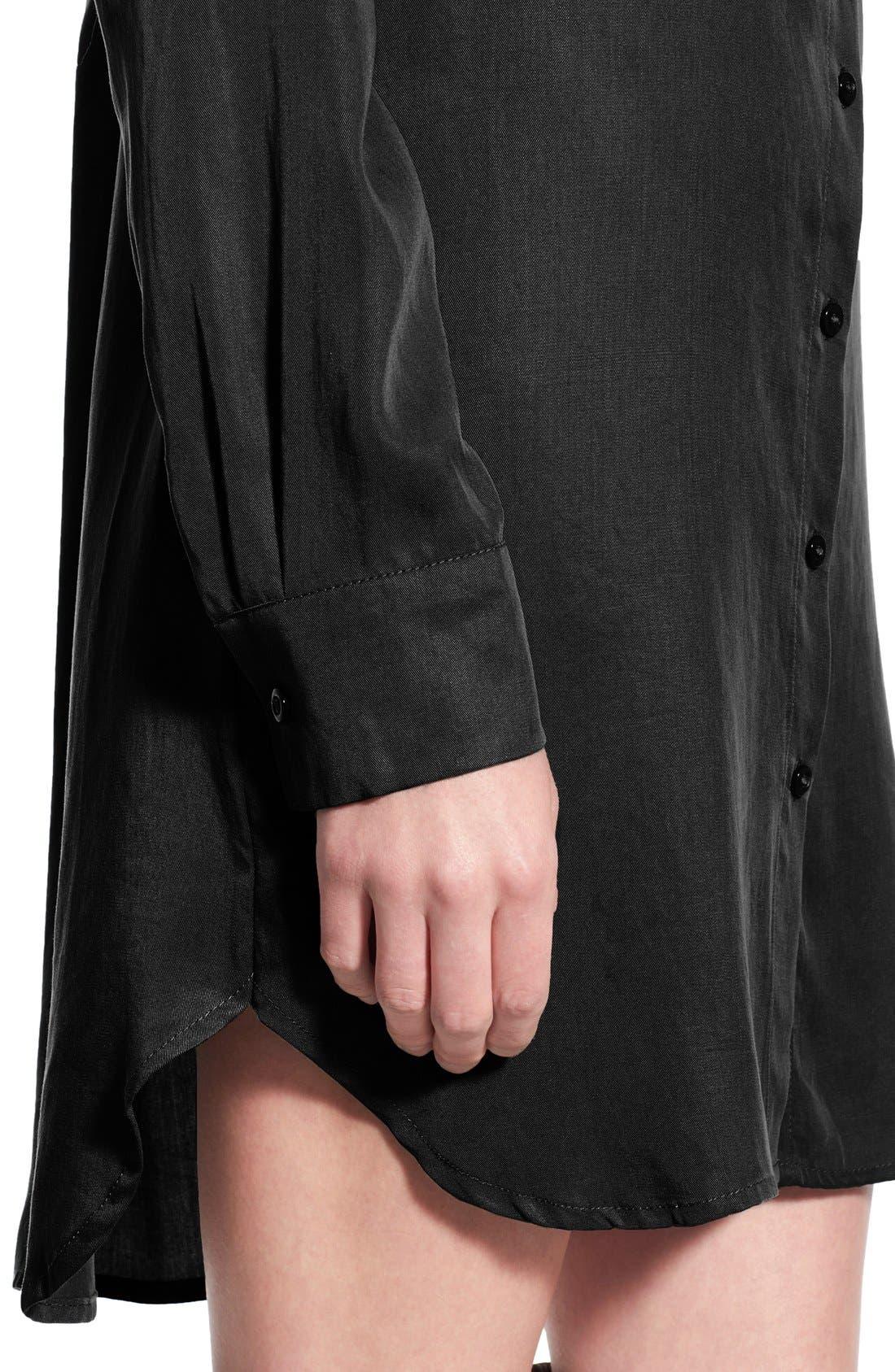 Button Front Shirtdress,                             Alternate thumbnail 4, color,                             001