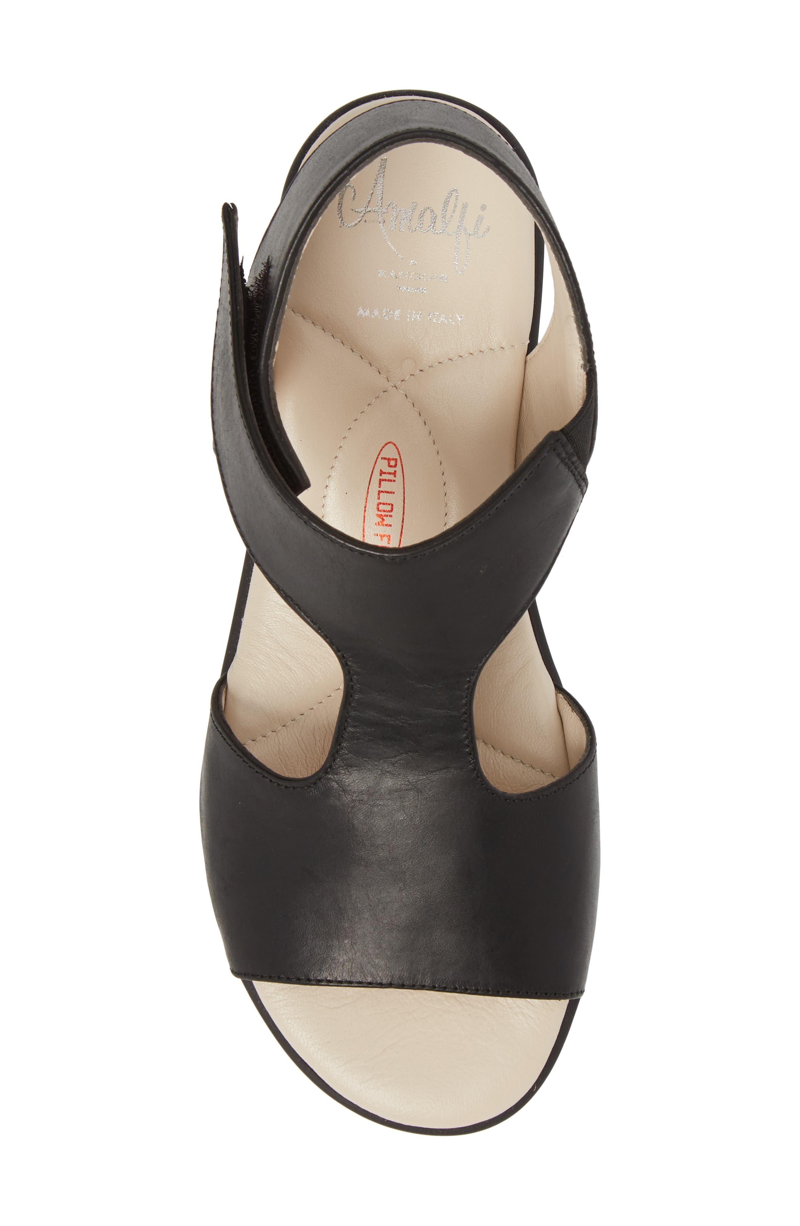Gabby Platform Sandal,                             Alternate thumbnail 5, color,                             BLACK LEATHER
