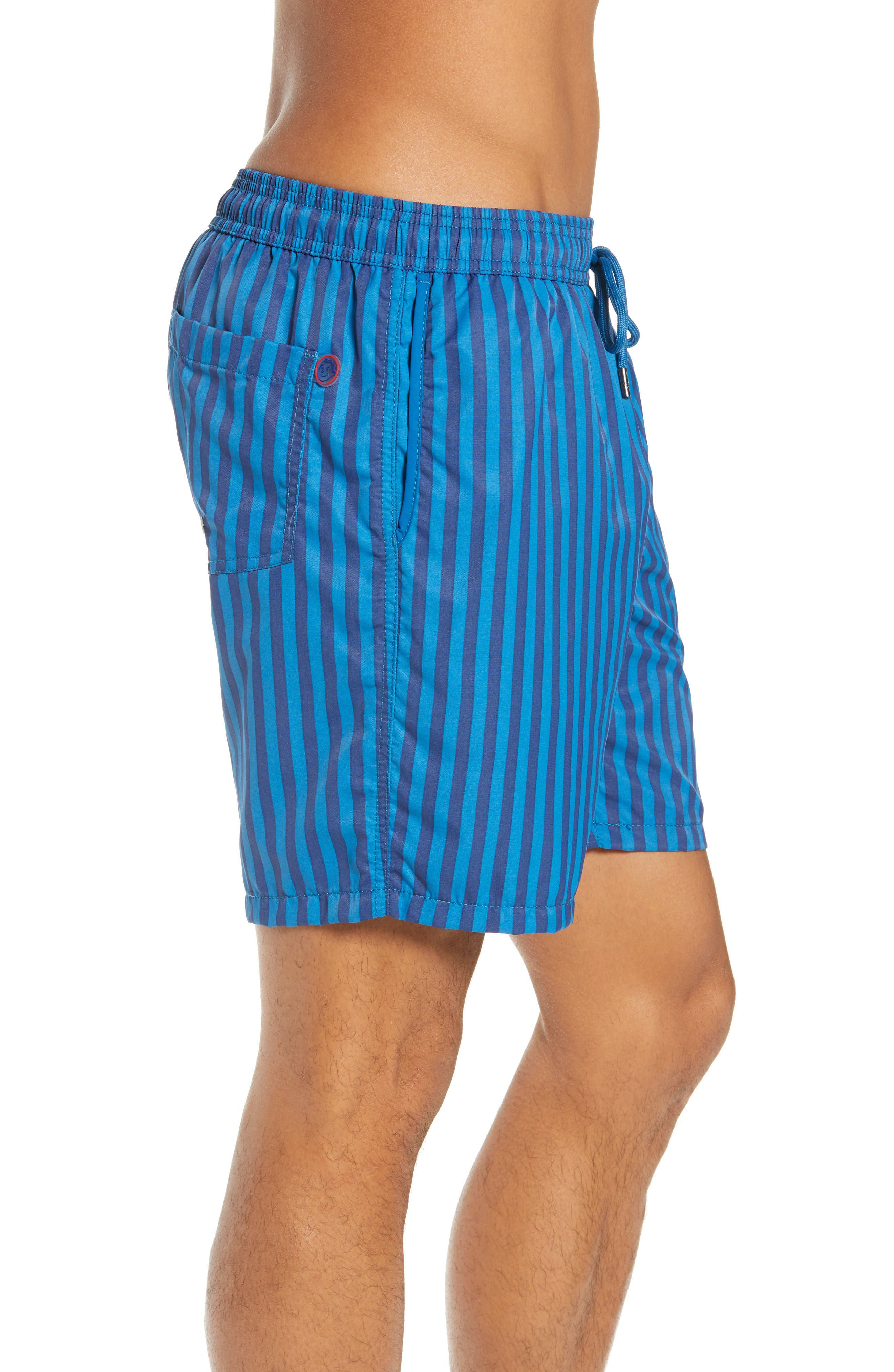 Mr. Swim Cabana Stripe Swim Trunks,                             Alternate thumbnail 3, color,                             NAVY/ ROYAL