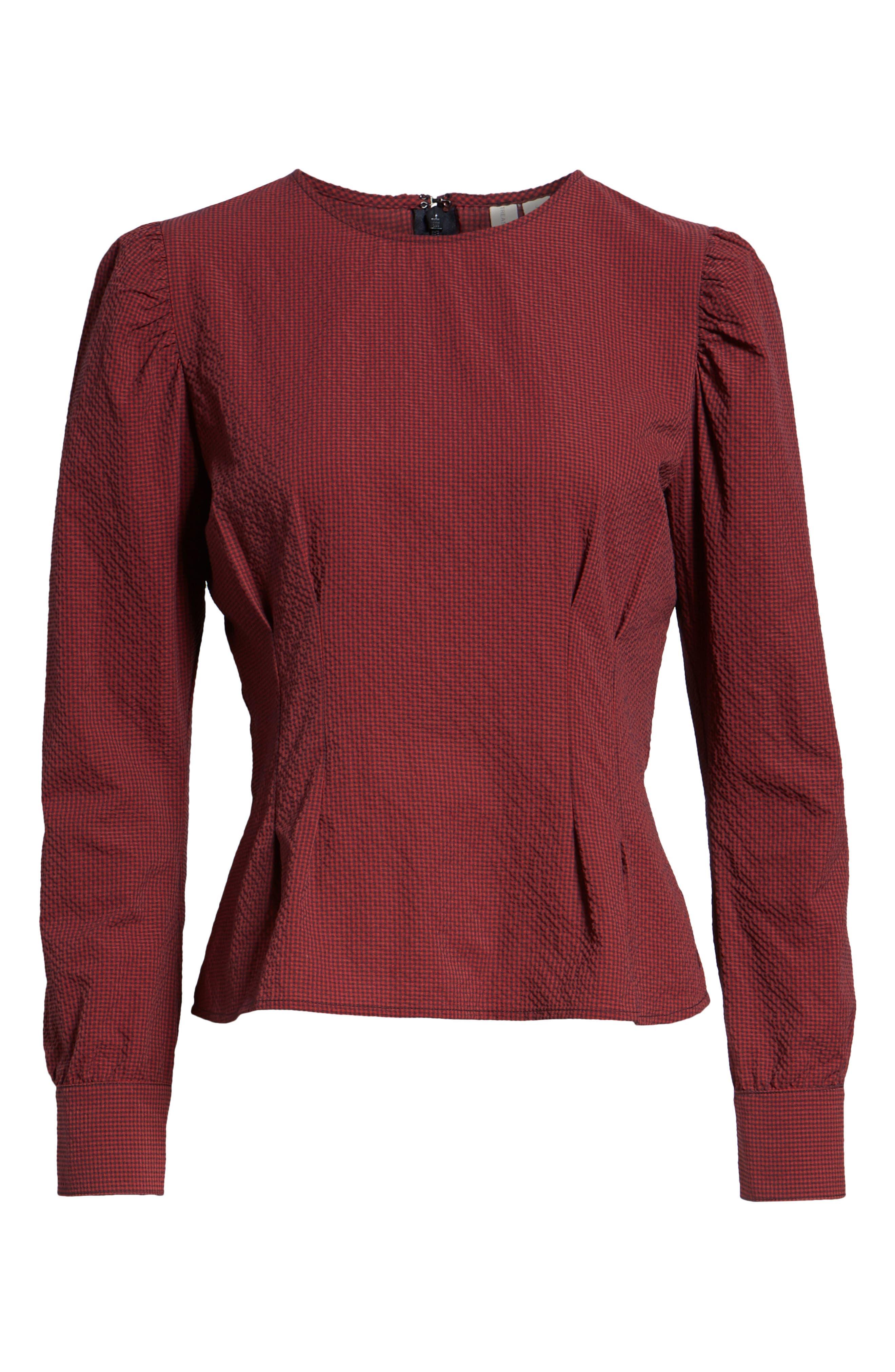 TREASURE & BOND,                             Mini Gingham Puff Sleeve Top,                             Alternate thumbnail 6, color,                             610